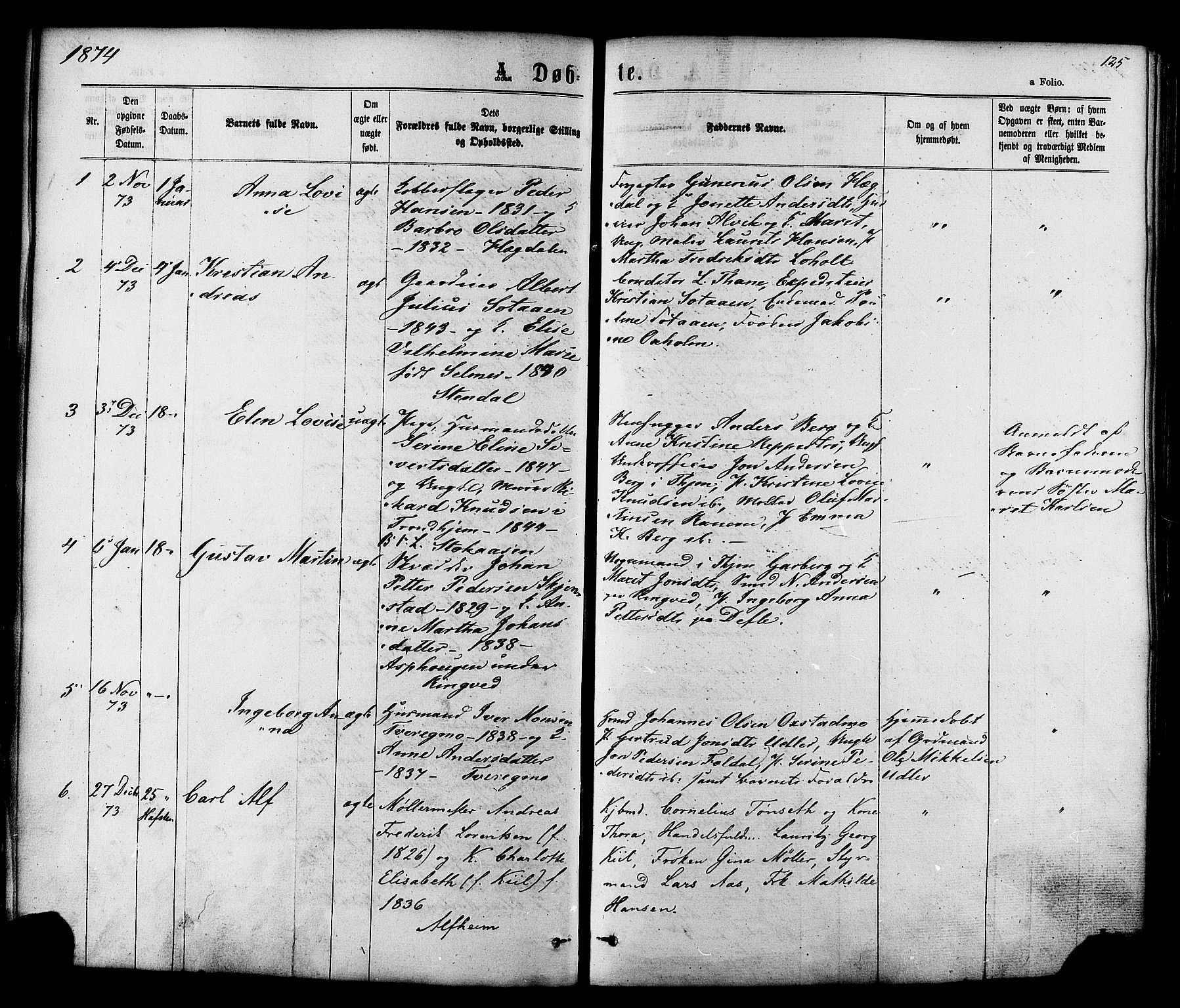 SAT, Ministerialprotokoller, klokkerbøker og fødselsregistre - Sør-Trøndelag, 606/L0293: Ministerialbok nr. 606A08, 1866-1877, s. 125