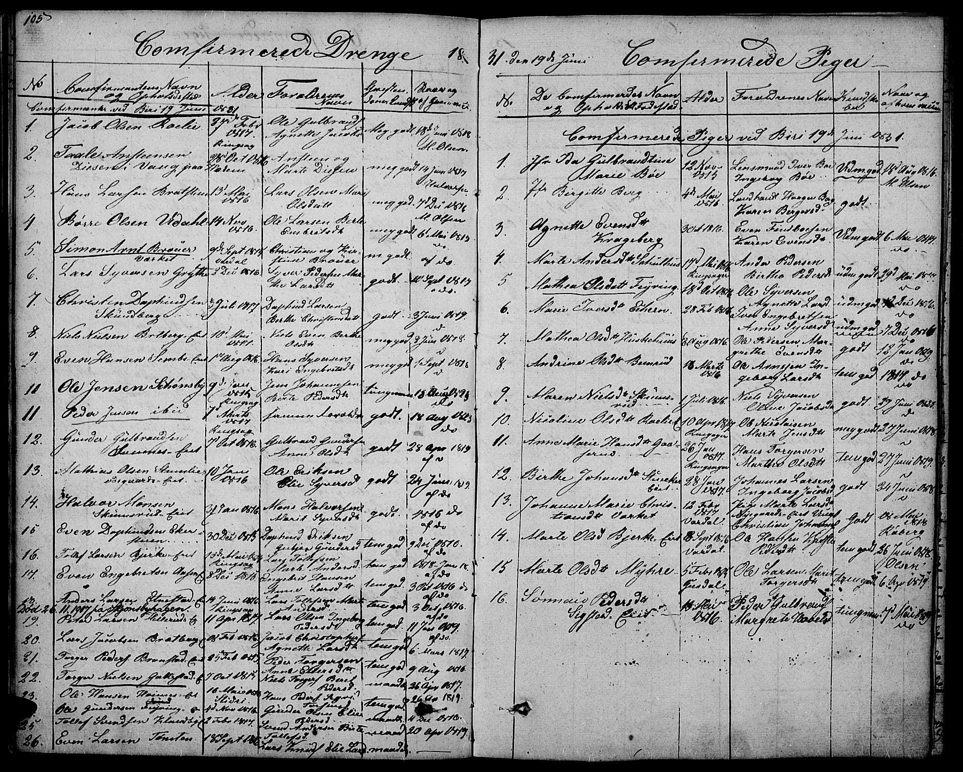 SAH, Biri prestekontor, Ministerialbok nr. 4, 1829-1842, s. 105