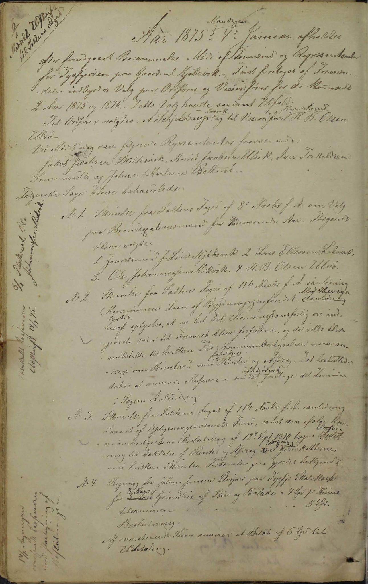 AIN, Tysfjord kommune. Formannskapet, 100/L0001: Forhandlingsprotokoll for Tysfjordens formandskab, 1869-1895, s. 33b