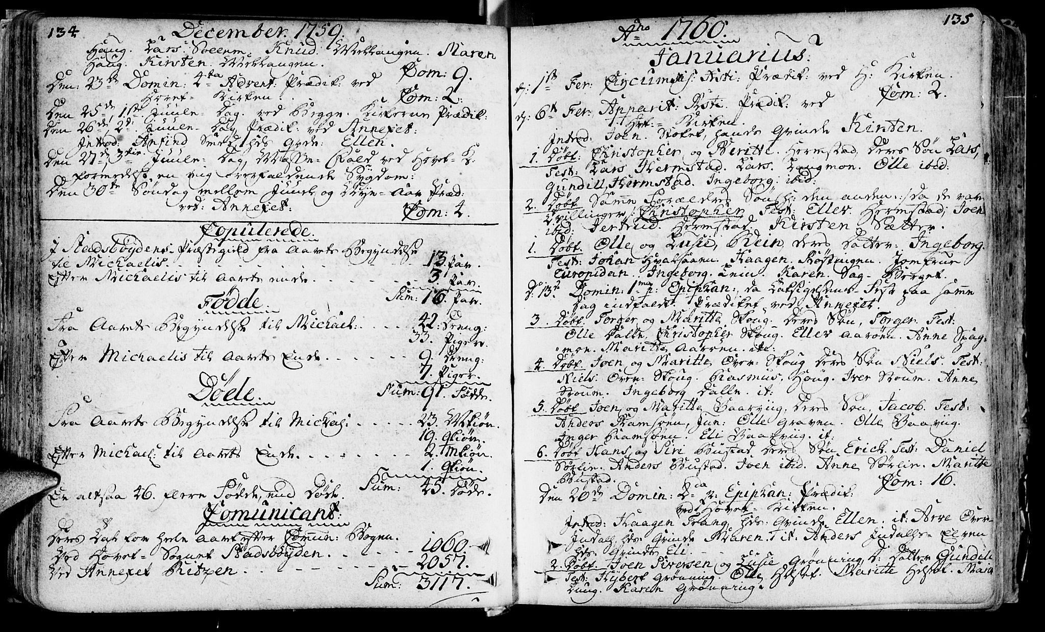 SAT, Ministerialprotokoller, klokkerbøker og fødselsregistre - Sør-Trøndelag, 646/L0605: Ministerialbok nr. 646A03, 1751-1790, s. 134-135