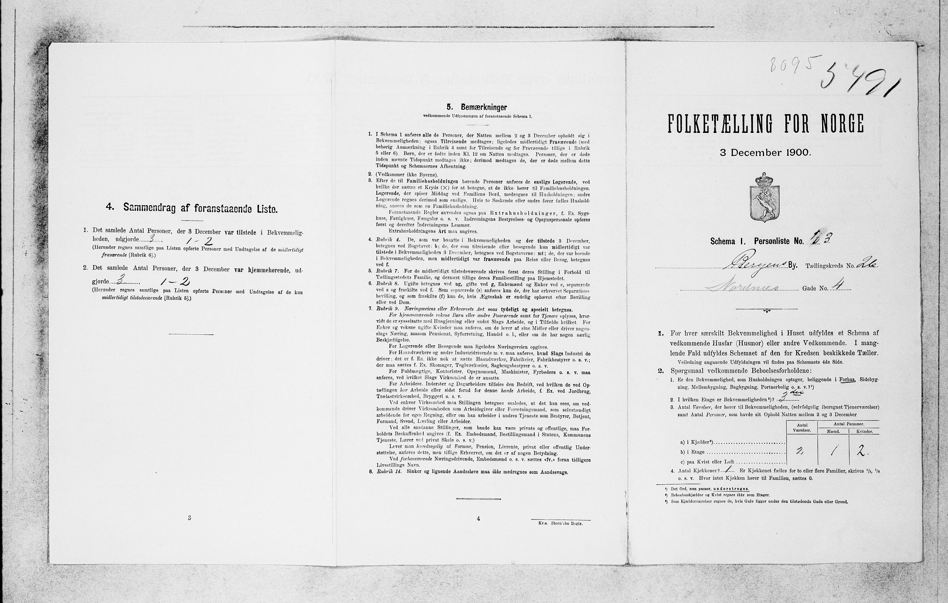 SAB, Folketelling 1900 for 1301 Bergen kjøpstad, 1900, s. 5540