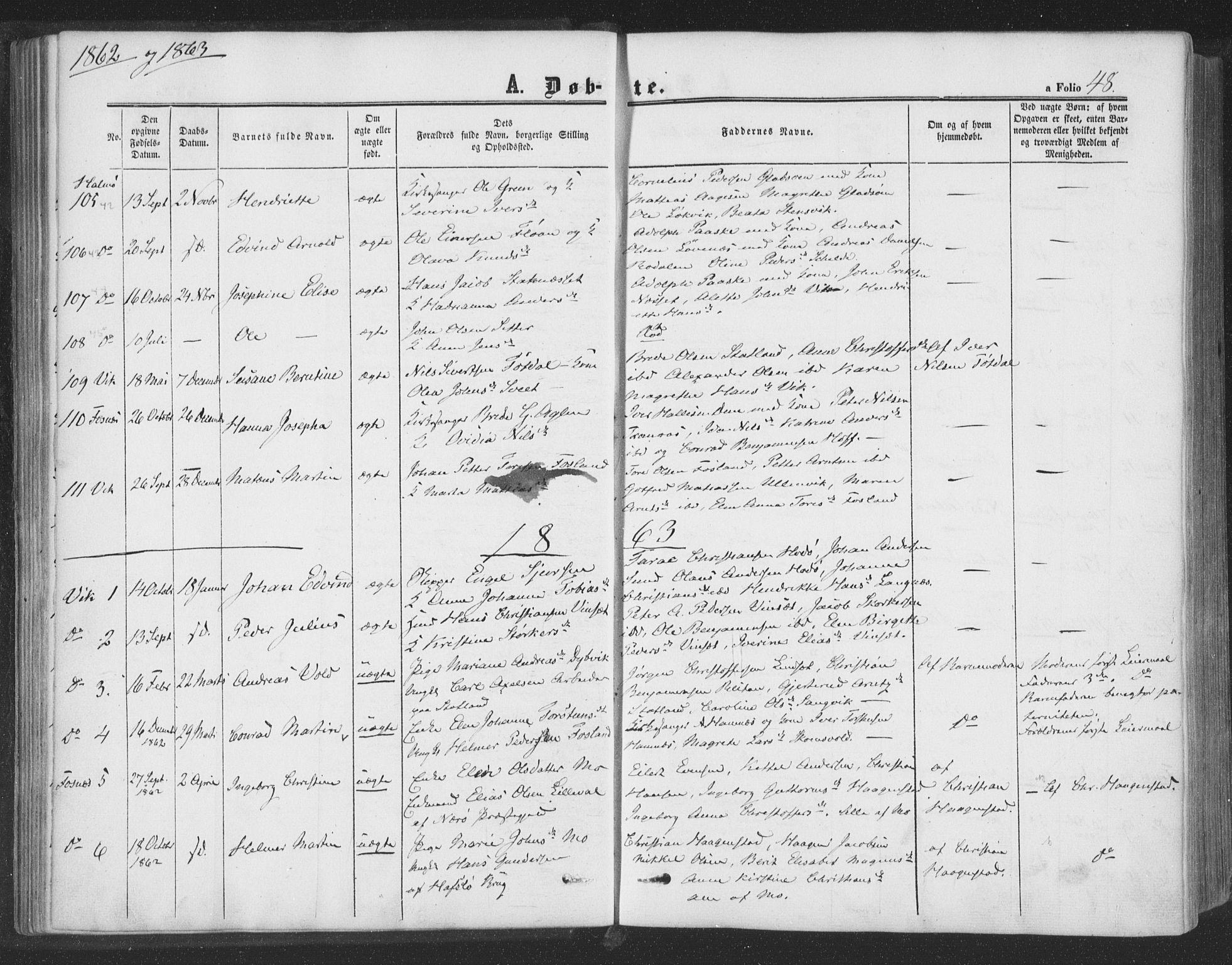 SAT, Ministerialprotokoller, klokkerbøker og fødselsregistre - Nord-Trøndelag, 773/L0615: Ministerialbok nr. 773A06, 1857-1870, s. 48