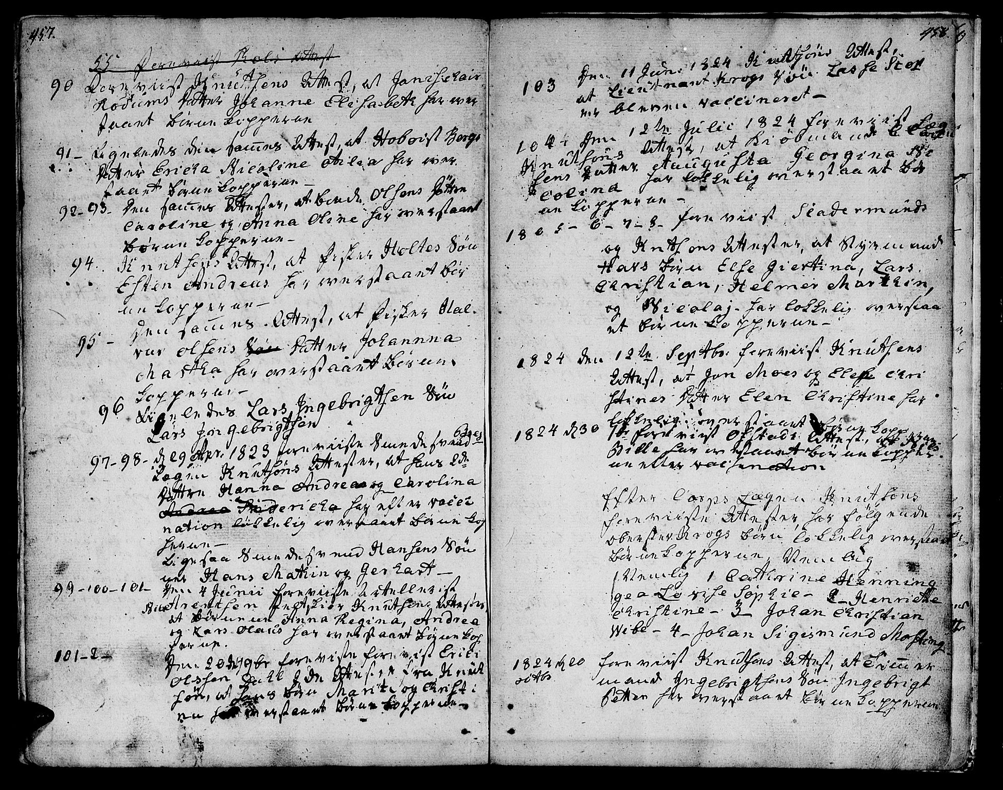 SAT, Ministerialprotokoller, klokkerbøker og fødselsregistre - Sør-Trøndelag, 601/L0042: Ministerialbok nr. 601A10, 1802-1830, s. 457-458