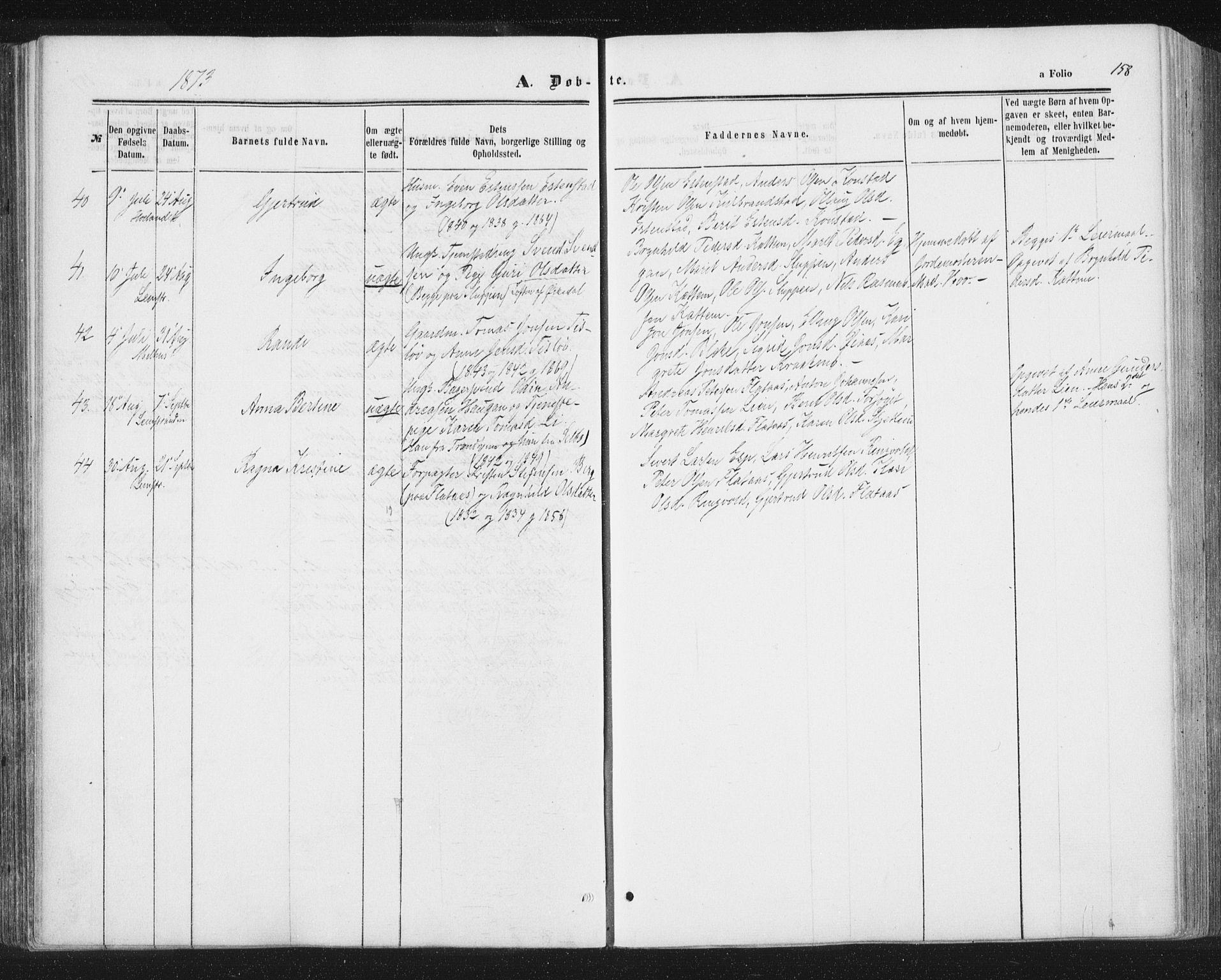 SAT, Ministerialprotokoller, klokkerbøker og fødselsregistre - Sør-Trøndelag, 691/L1077: Ministerialbok nr. 691A09, 1862-1873, s. 158