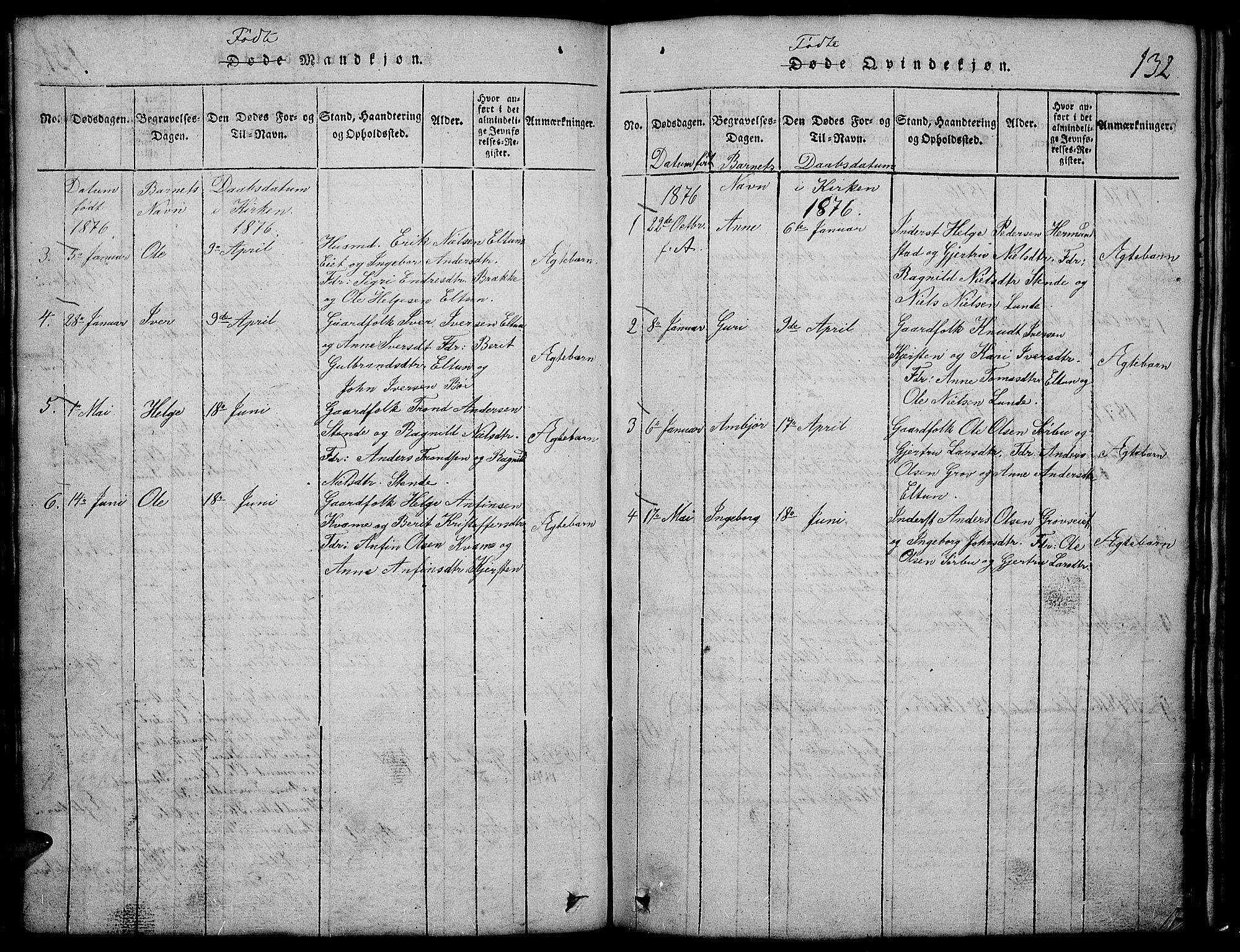 SAH, Vang prestekontor, Valdres, Klokkerbok nr. 2, 1814-1889, s. 132