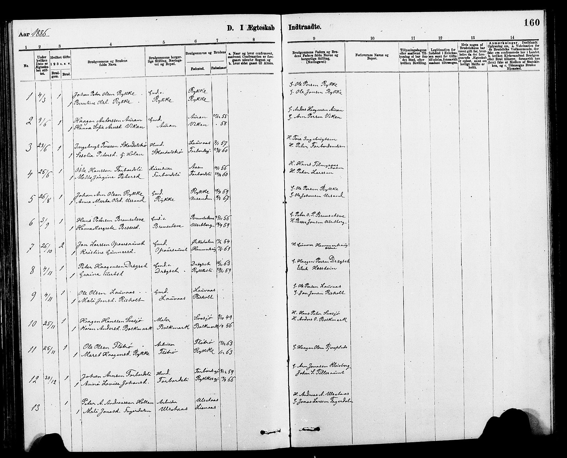 SAT, Ministerialprotokoller, klokkerbøker og fødselsregistre - Nord-Trøndelag, 712/L0103: Klokkerbok nr. 712C01, 1878-1917, s. 160