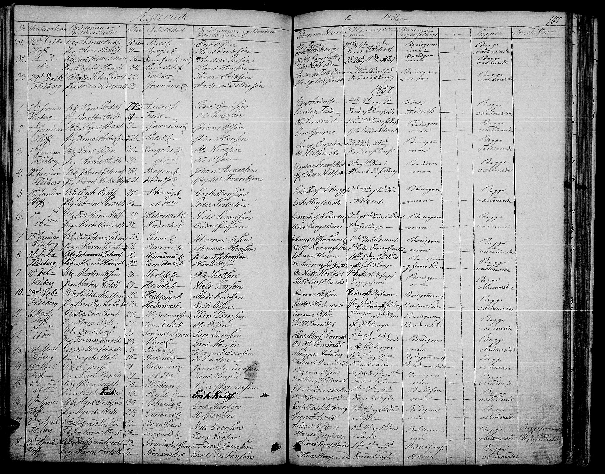 SAH, Søndre Land prestekontor, L/L0001: Klokkerbok nr. 1, 1849-1883, s. 167