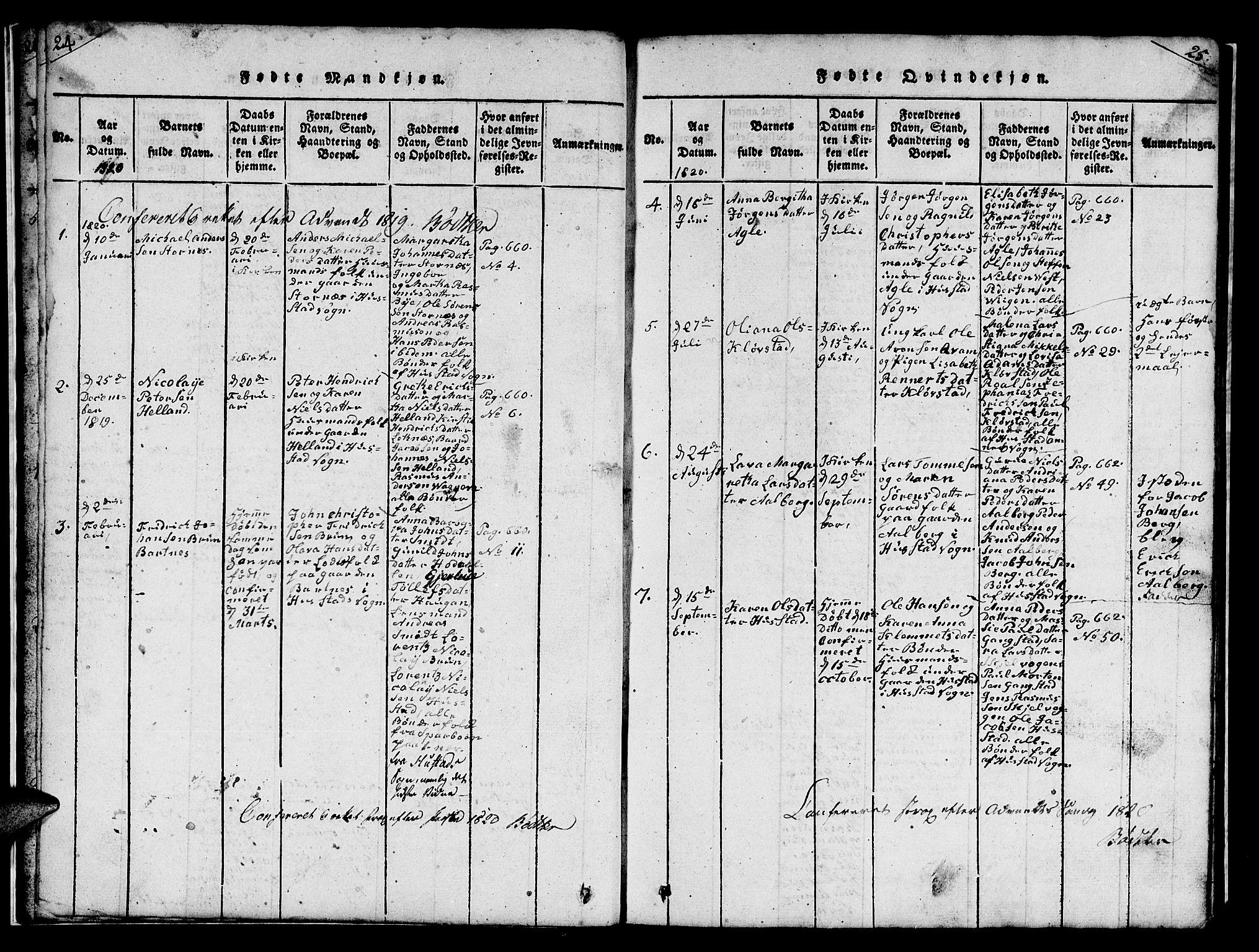 SAT, Ministerialprotokoller, klokkerbøker og fødselsregistre - Nord-Trøndelag, 732/L0317: Klokkerbok nr. 732C01, 1816-1881, s. 24-25