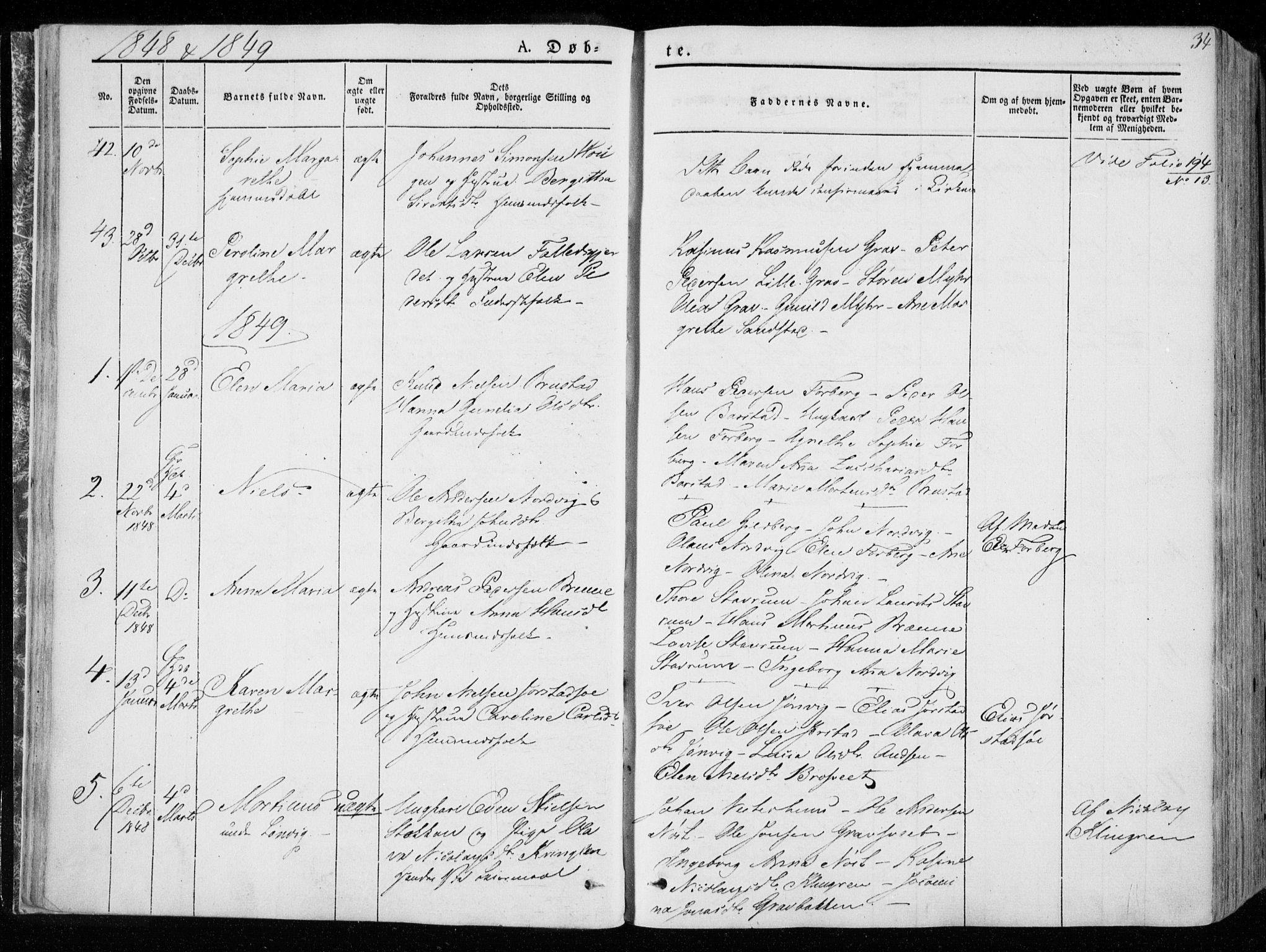 SAT, Ministerialprotokoller, klokkerbøker og fødselsregistre - Nord-Trøndelag, 722/L0218: Ministerialbok nr. 722A05, 1843-1868, s. 34