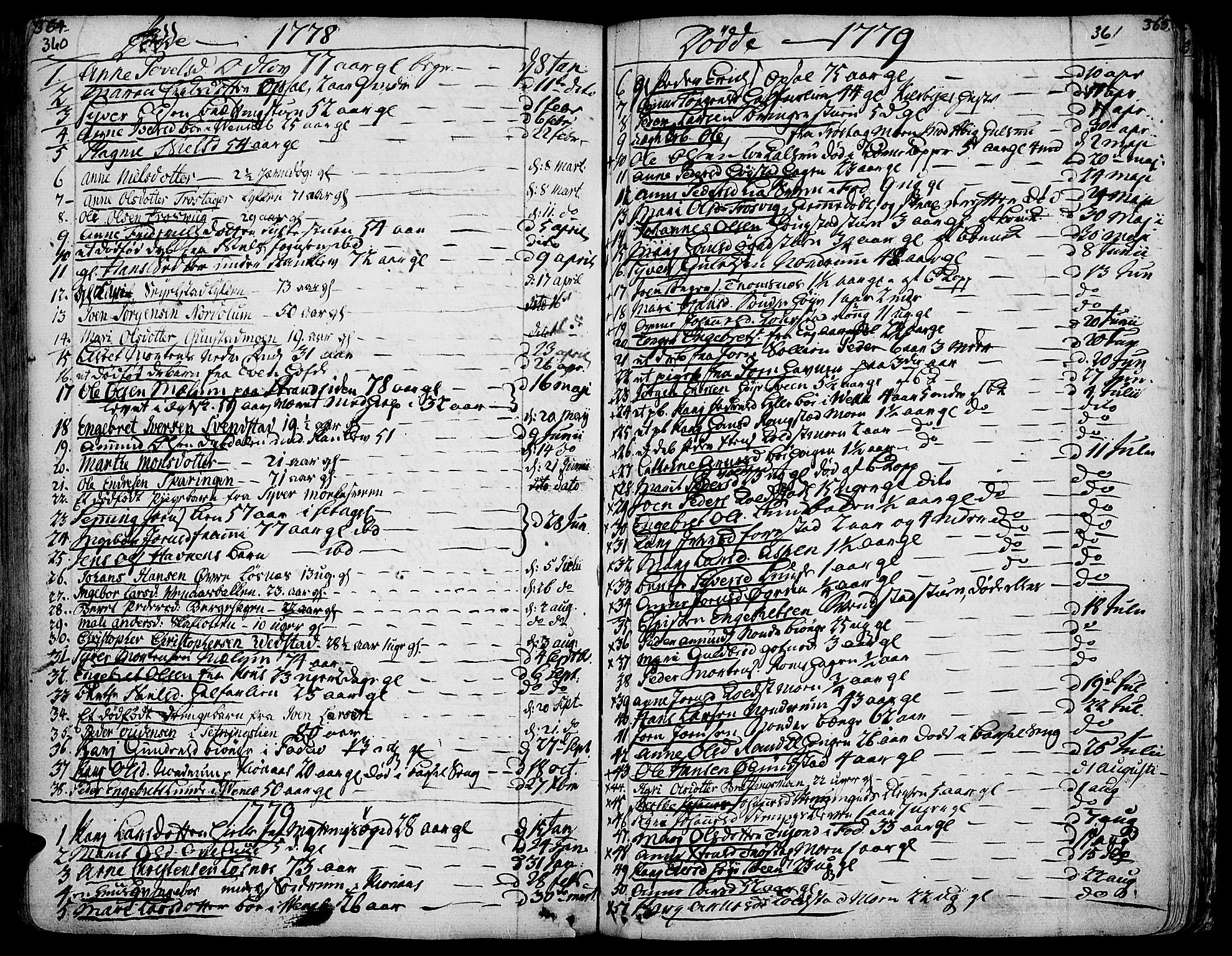 SAH, Ringebu prestekontor, Ministerialbok nr. 2, 1734-1780, s. 360-361