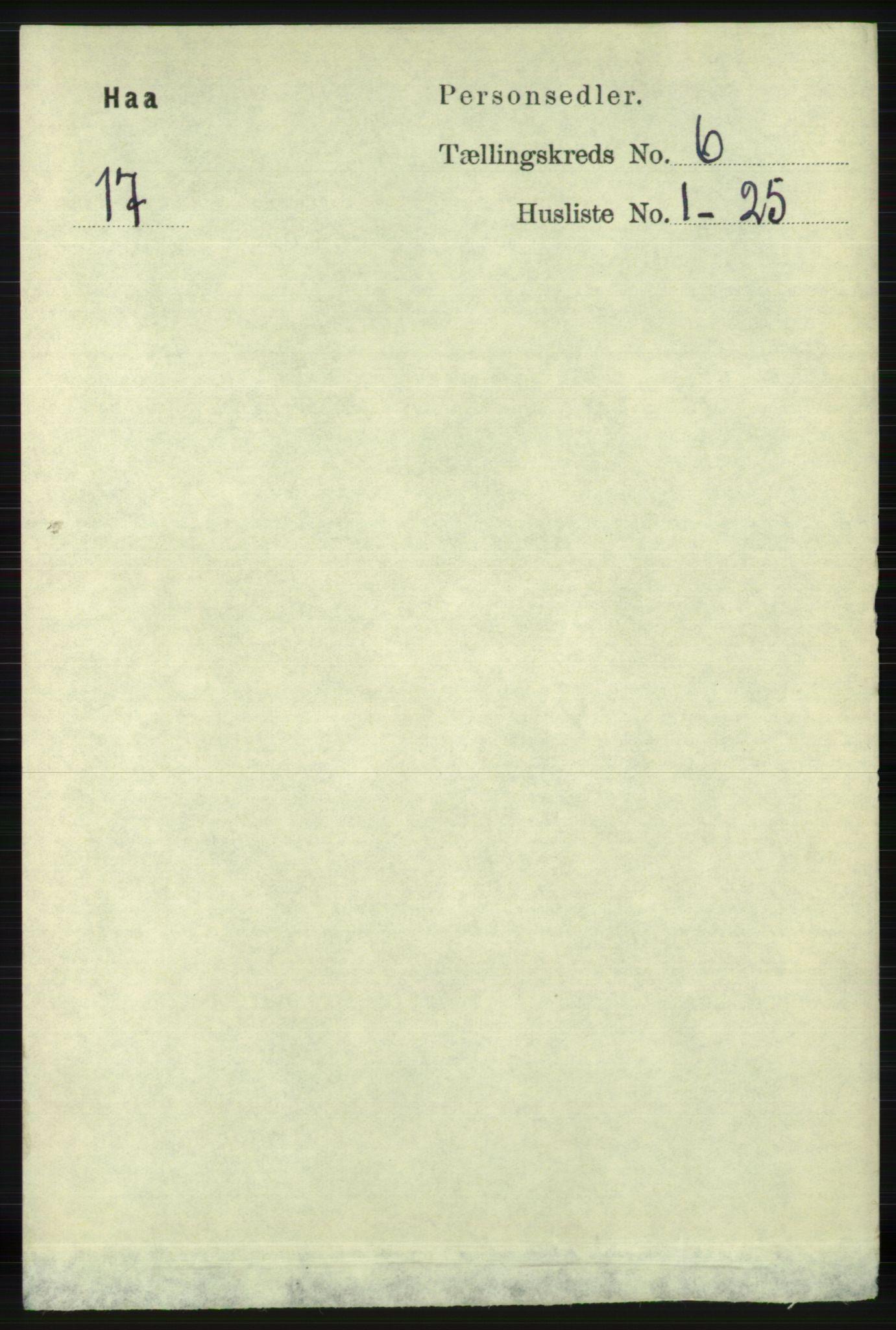 RA, Folketelling 1891 for 1119 Hå herred, 1891, s. 1714