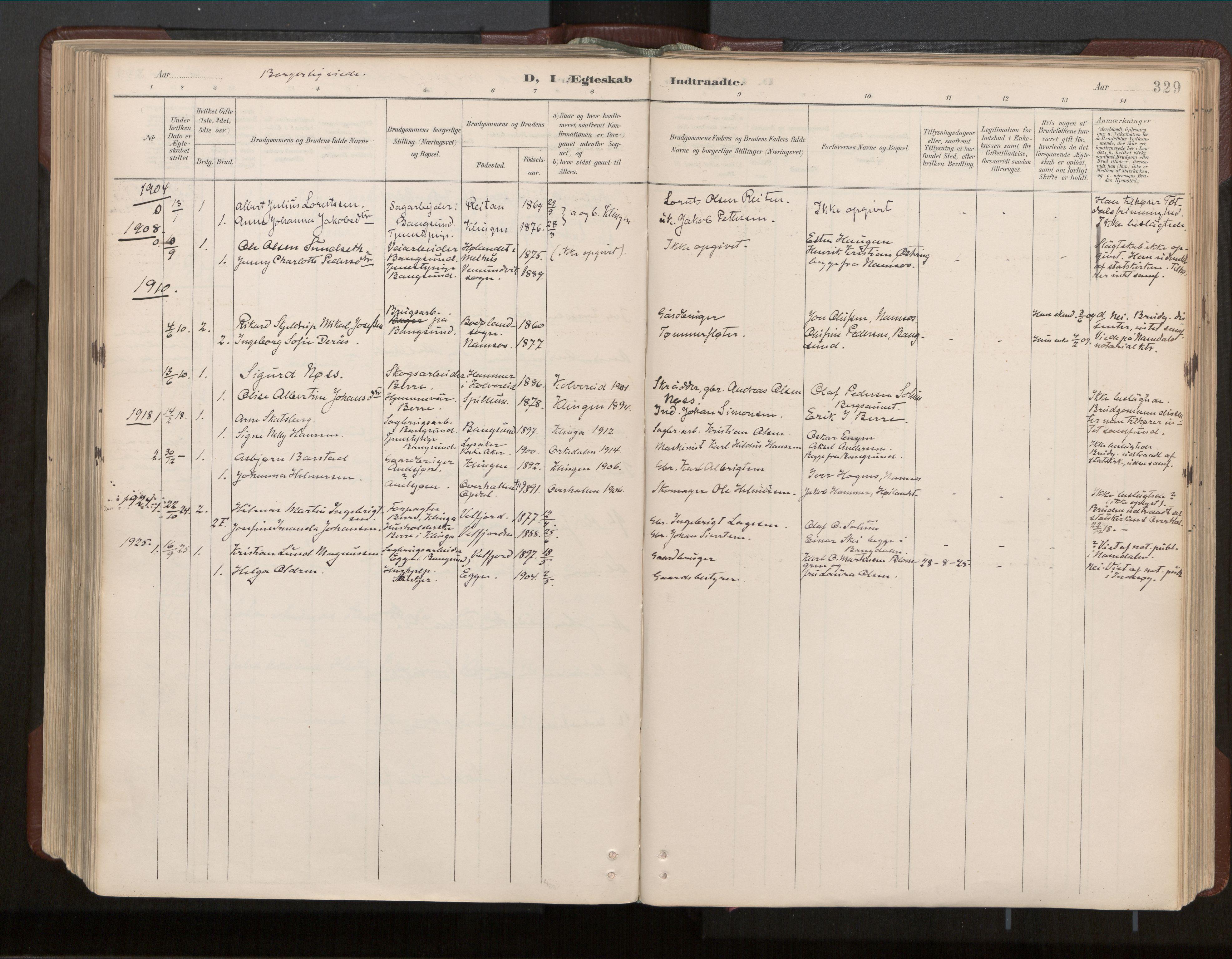 SAT, Ministerialprotokoller, klokkerbøker og fødselsregistre - Nord-Trøndelag, 770/L0589: Ministerialbok nr. 770A03, 1887-1929, s. 329