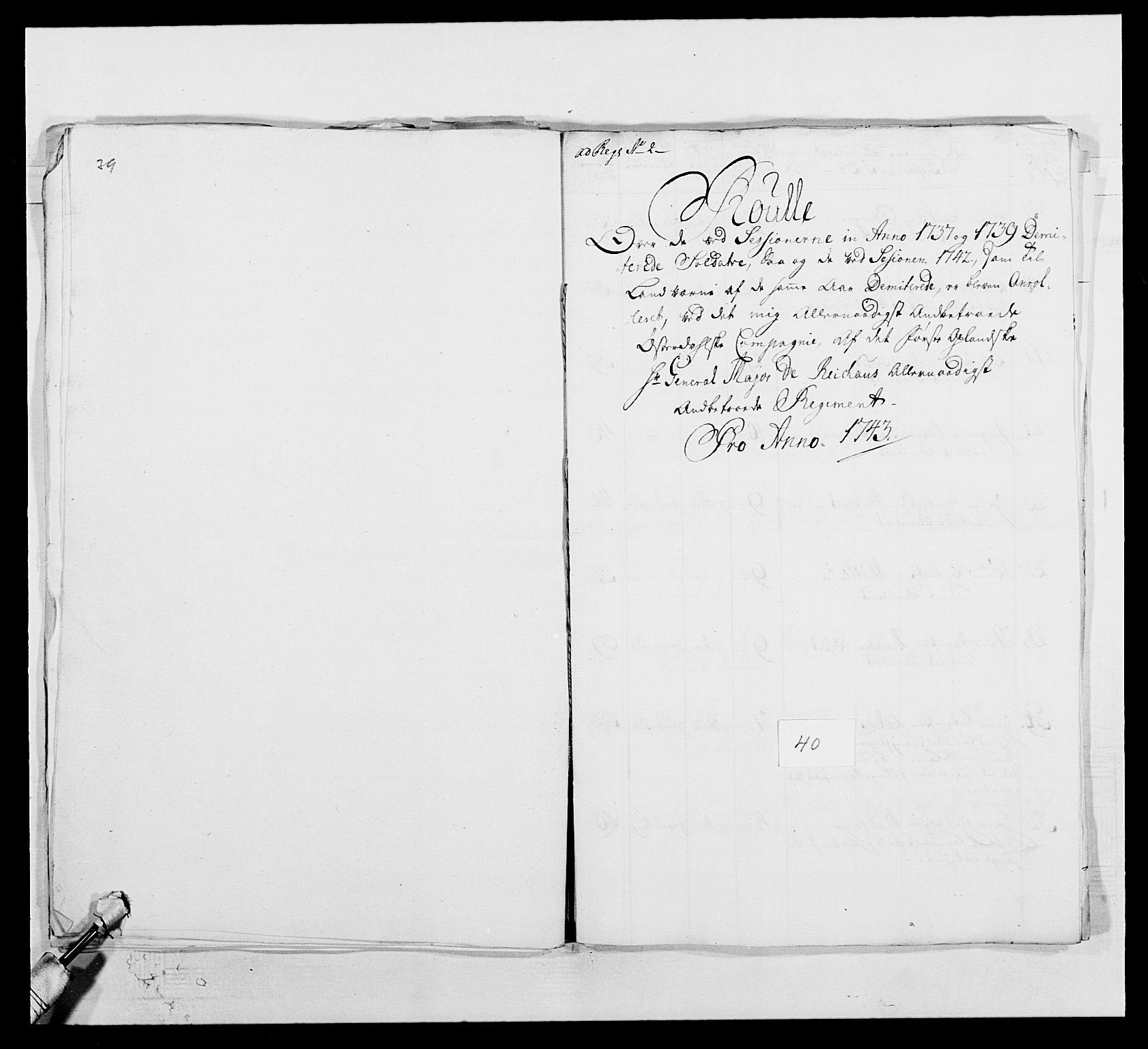 RA, Kommanderende general (KG I) med Det norske krigsdirektorium, E/Ea/L0502: 1. Opplandske regiment, 1720-1743, s. 496