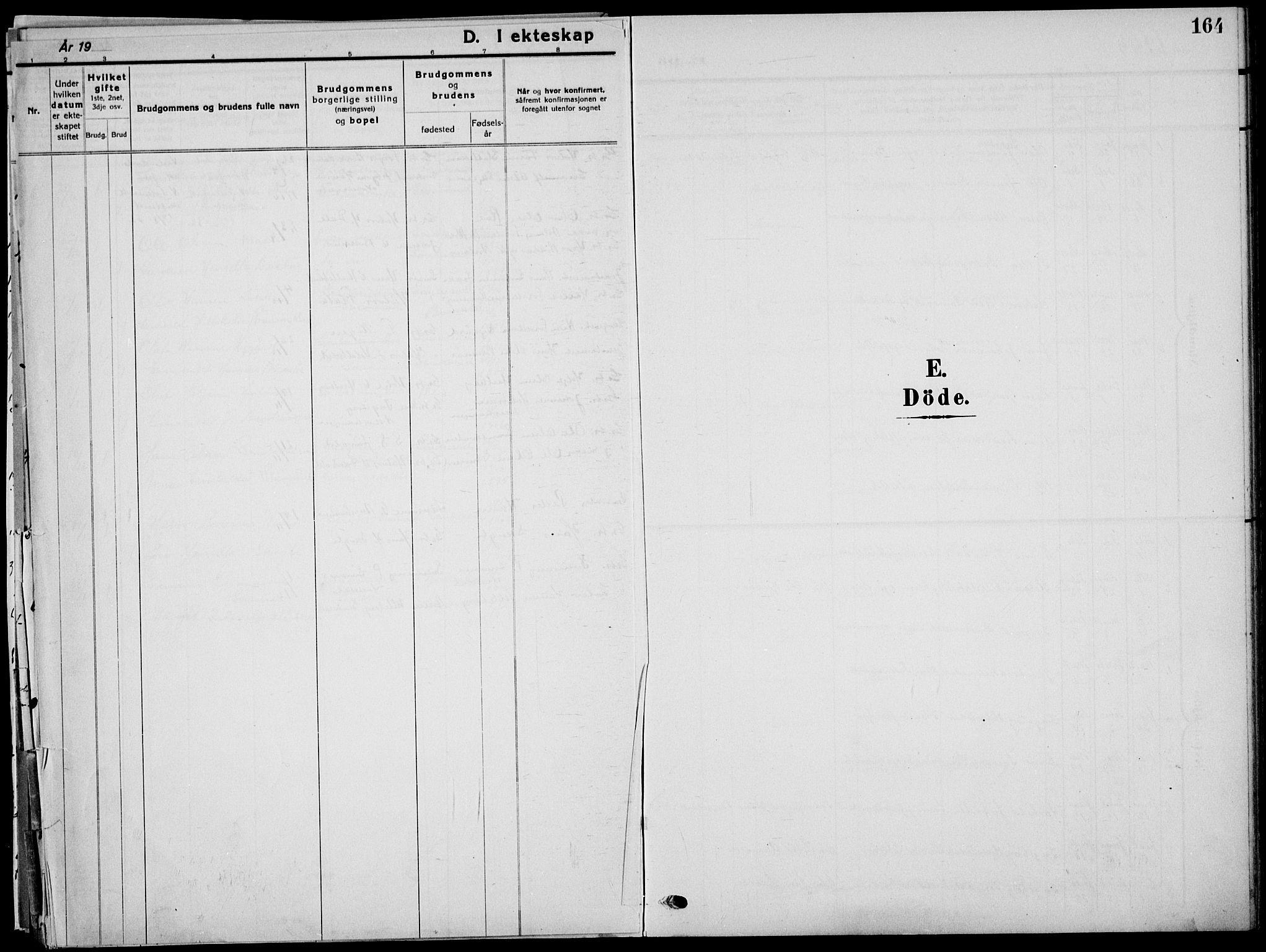SAKO, Sauherad kirkebøker, G/Ga/L0004a: Klokkerbok nr. I 4, 1906-1934, s. 164