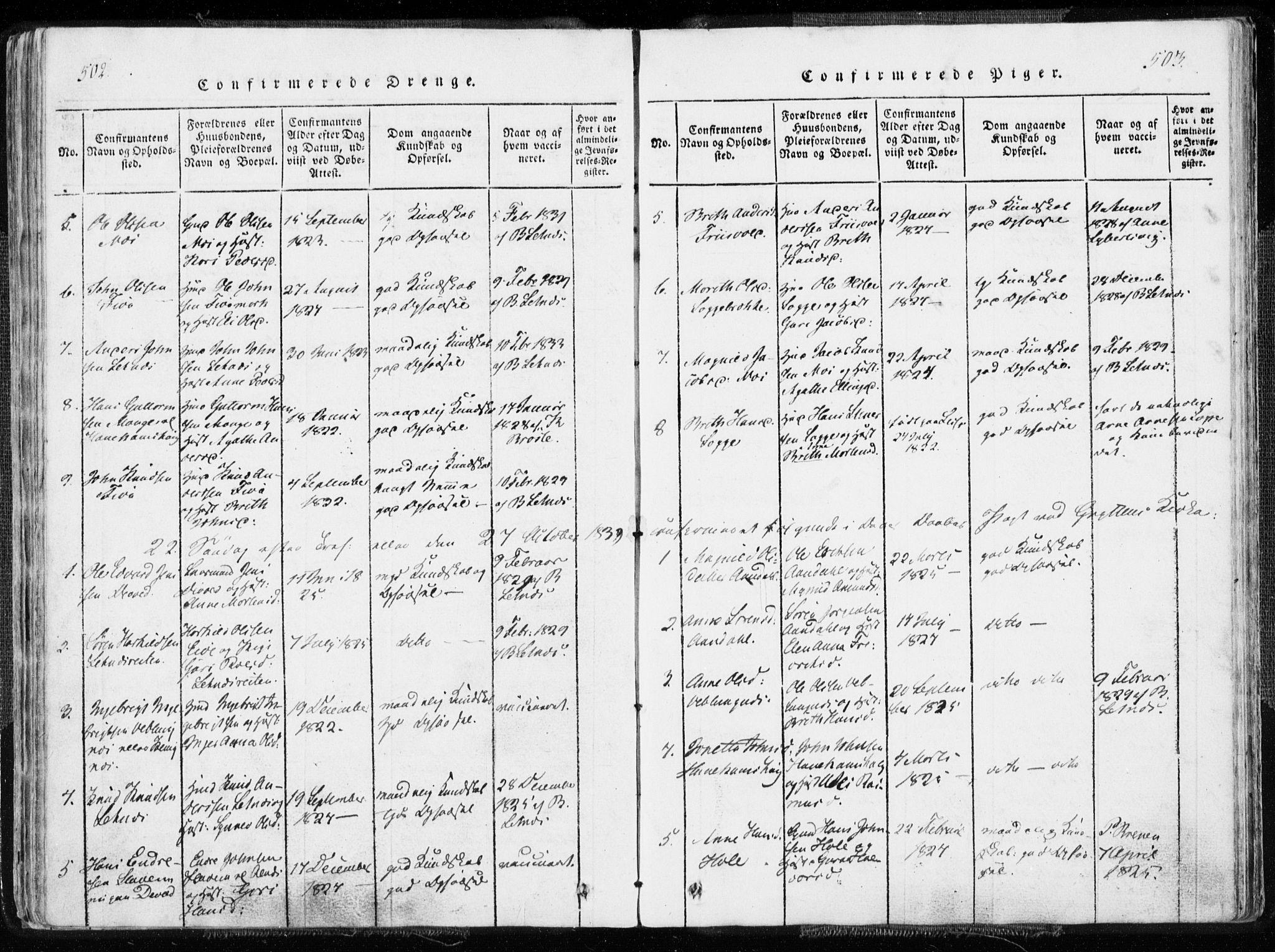 SAT, Ministerialprotokoller, klokkerbøker og fødselsregistre - Møre og Romsdal, 544/L0571: Ministerialbok nr. 544A04, 1818-1853, s. 502-503