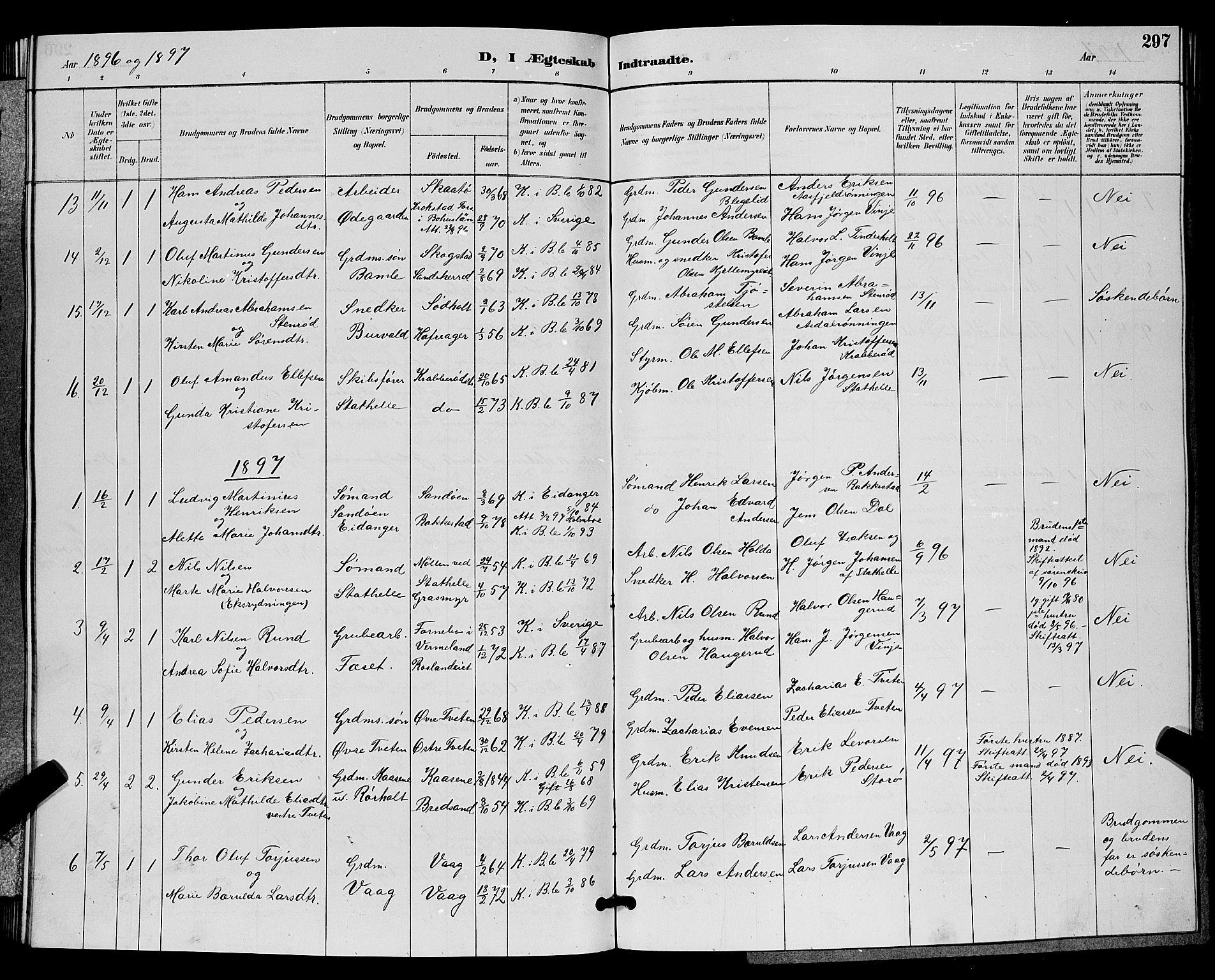 SAKO, Bamble kirkebøker, G/Ga/L0009: Klokkerbok nr. I 9, 1888-1900, s. 297