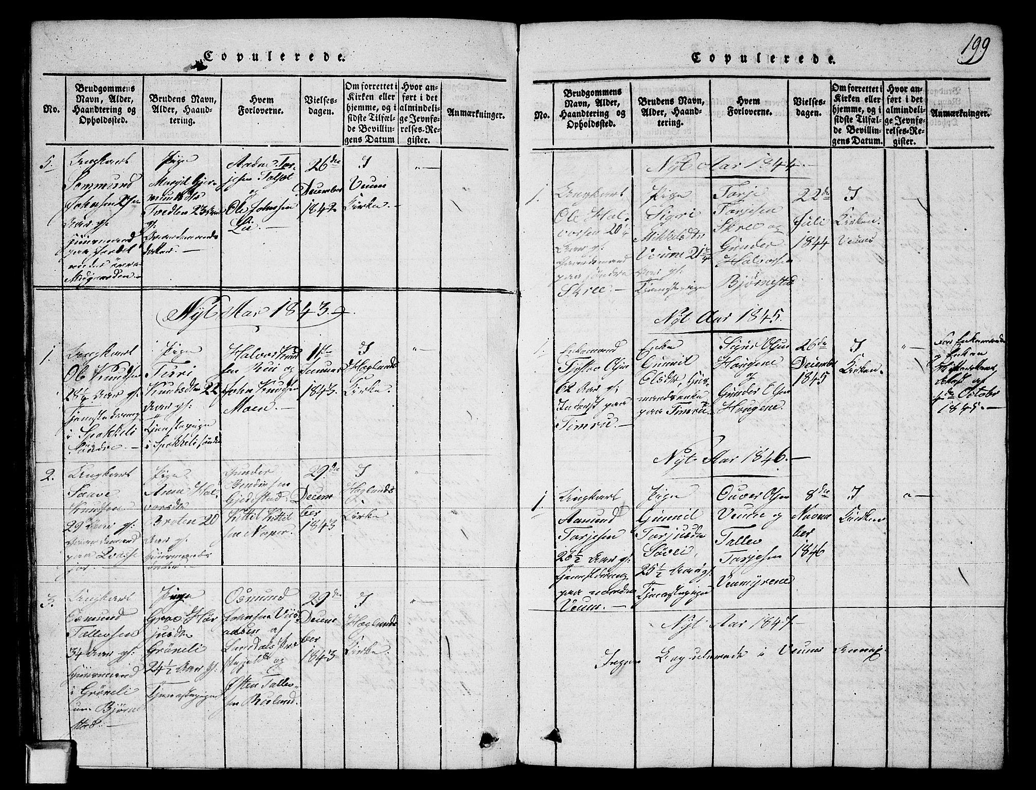 SAKO, Fyresdal kirkebøker, G/Ga/L0003: Klokkerbok nr. I 3, 1815-1863, s. 199
