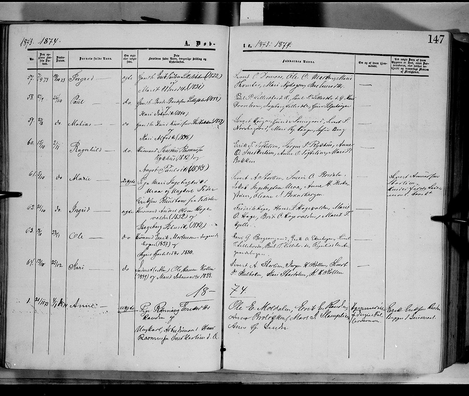 SAH, Dovre prestekontor, Ministerialbok nr. 1, 1854-1878, s. 147