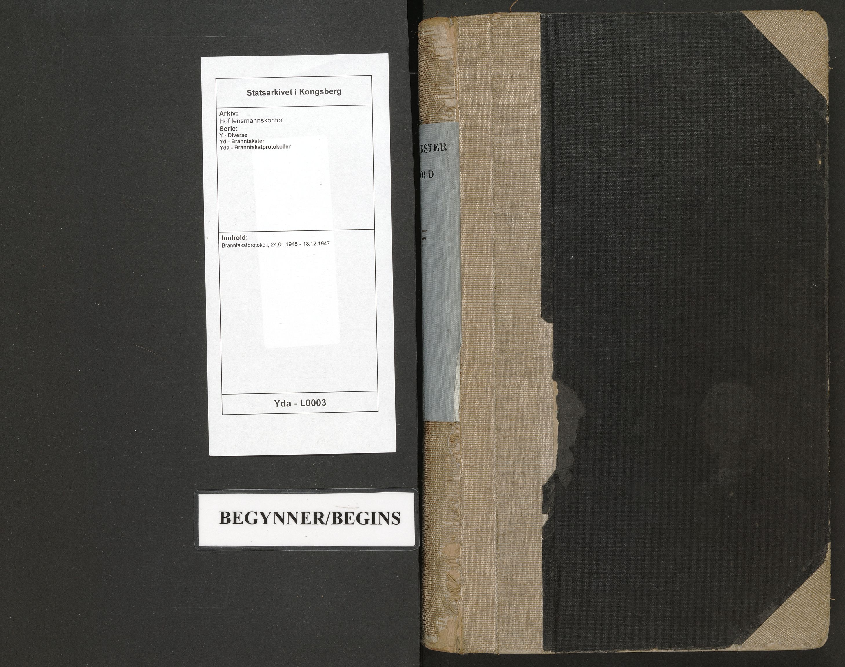 SAKO, Hof lensmannskontor, Y/Yd/Yda/L0003: Branntakstprotokoll, 1945-1947