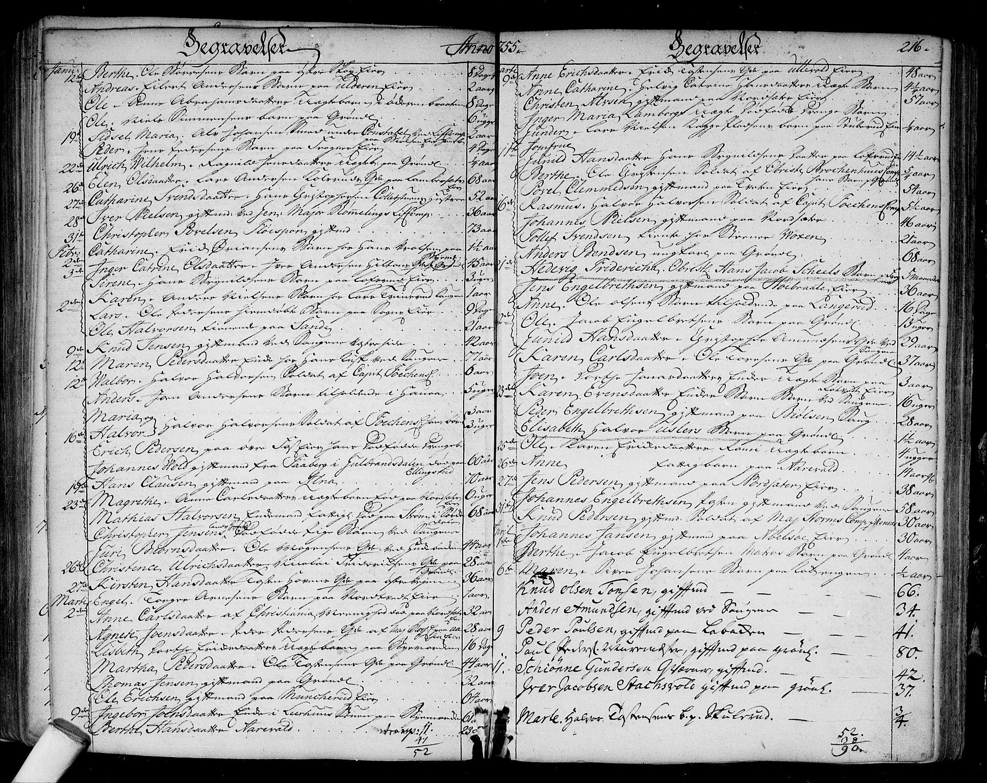 SAO, Aker prestekontor kirkebøker, F/L0008: Ministerialbok nr. 8, 1749-1765, s. 216