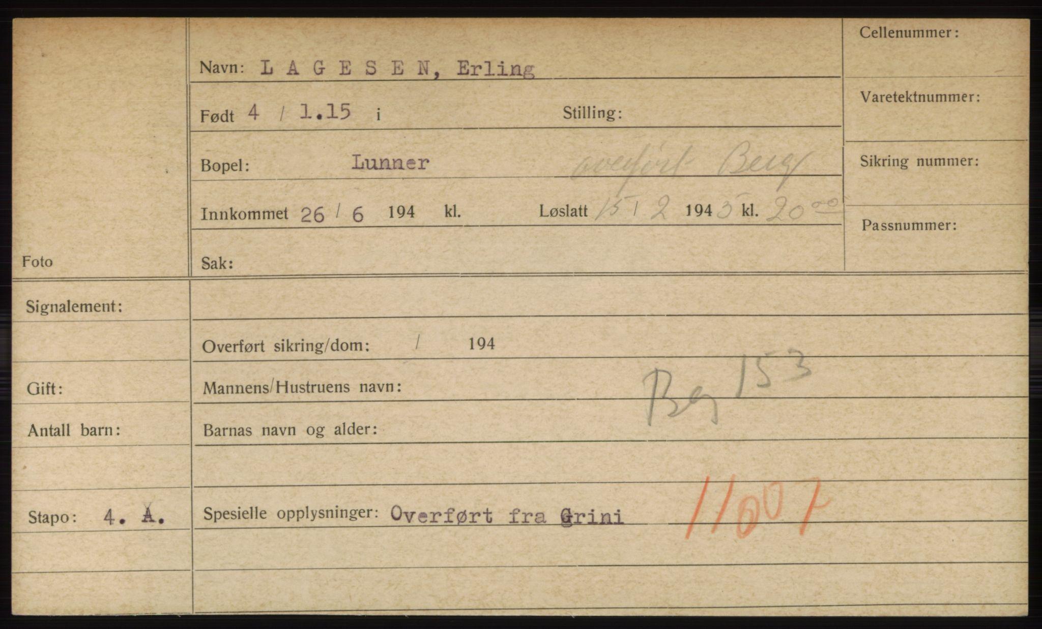 RA, Statspolitiet - Hovedkontoret / Osloavdelingen, C/Ck/Cke/L0004: Fangeregister L-R, 1941-1945, s. 1