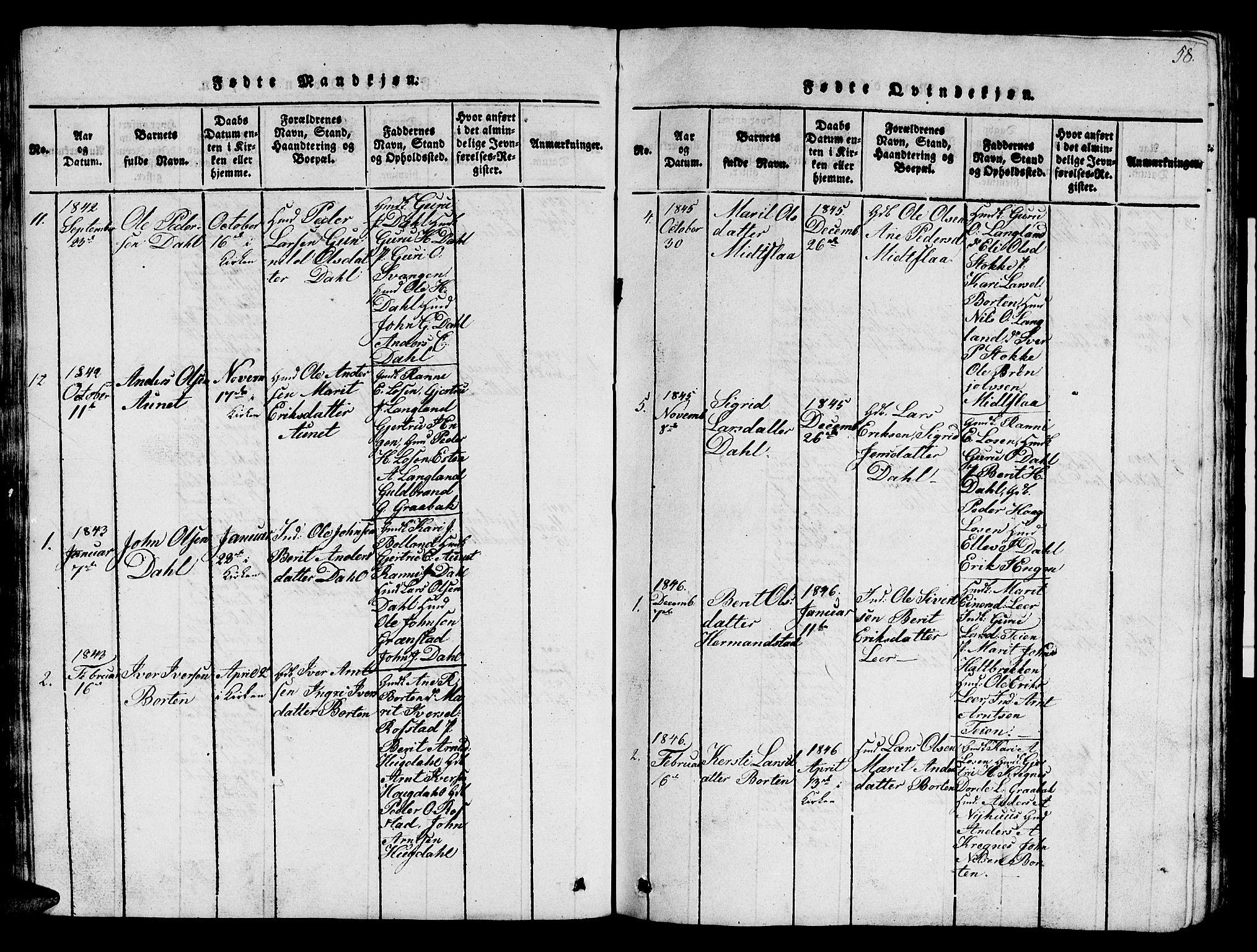 SAT, Ministerialprotokoller, klokkerbøker og fødselsregistre - Sør-Trøndelag, 693/L1121: Klokkerbok nr. 693C02, 1816-1869, s. 58
