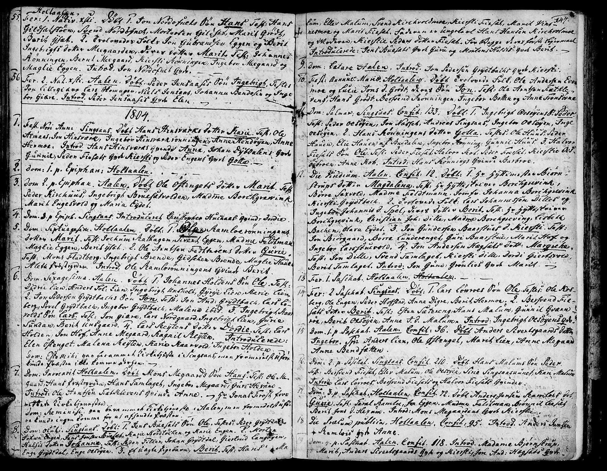 SAT, Ministerialprotokoller, klokkerbøker og fødselsregistre - Sør-Trøndelag, 685/L0952: Ministerialbok nr. 685A01, 1745-1804, s. 147