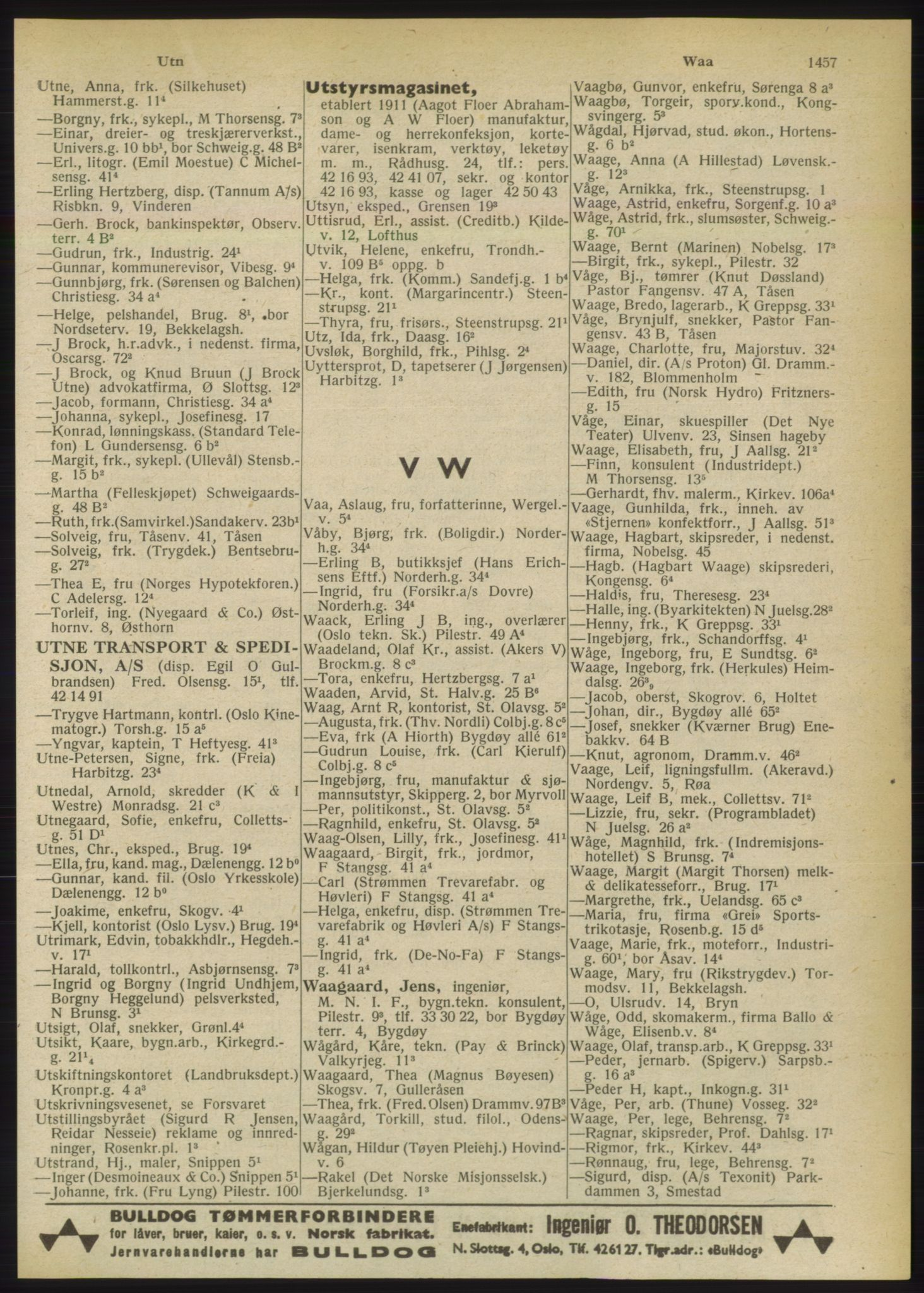 RA, Oslo adressebok (publikasjon)*, 1949, s. 1457