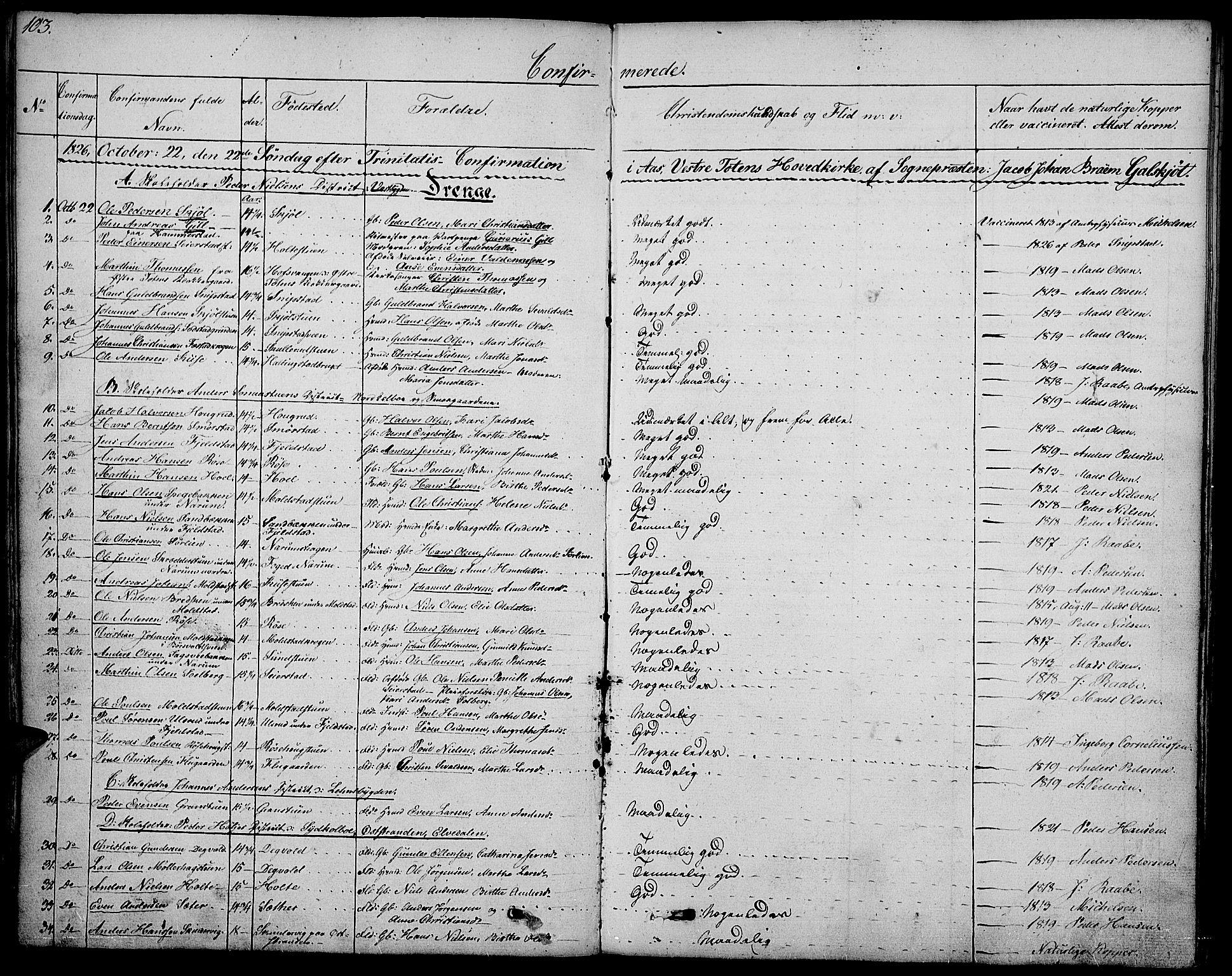 SAH, Vestre Toten prestekontor, Ministerialbok nr. 2, 1825-1837, s. 103