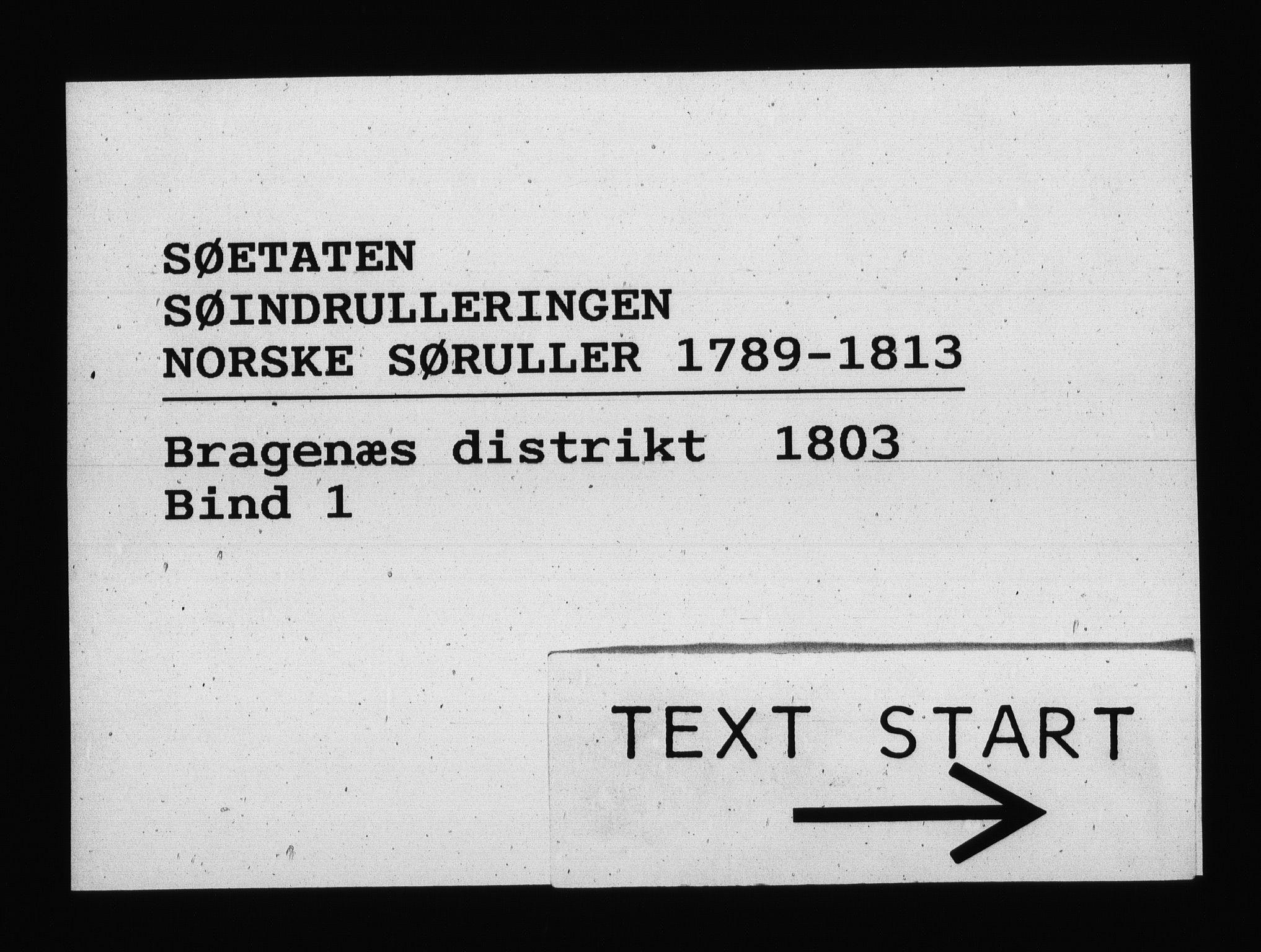 RA, Sjøetaten, F/L0146: Bragernes distrikt, bind 1, 1803