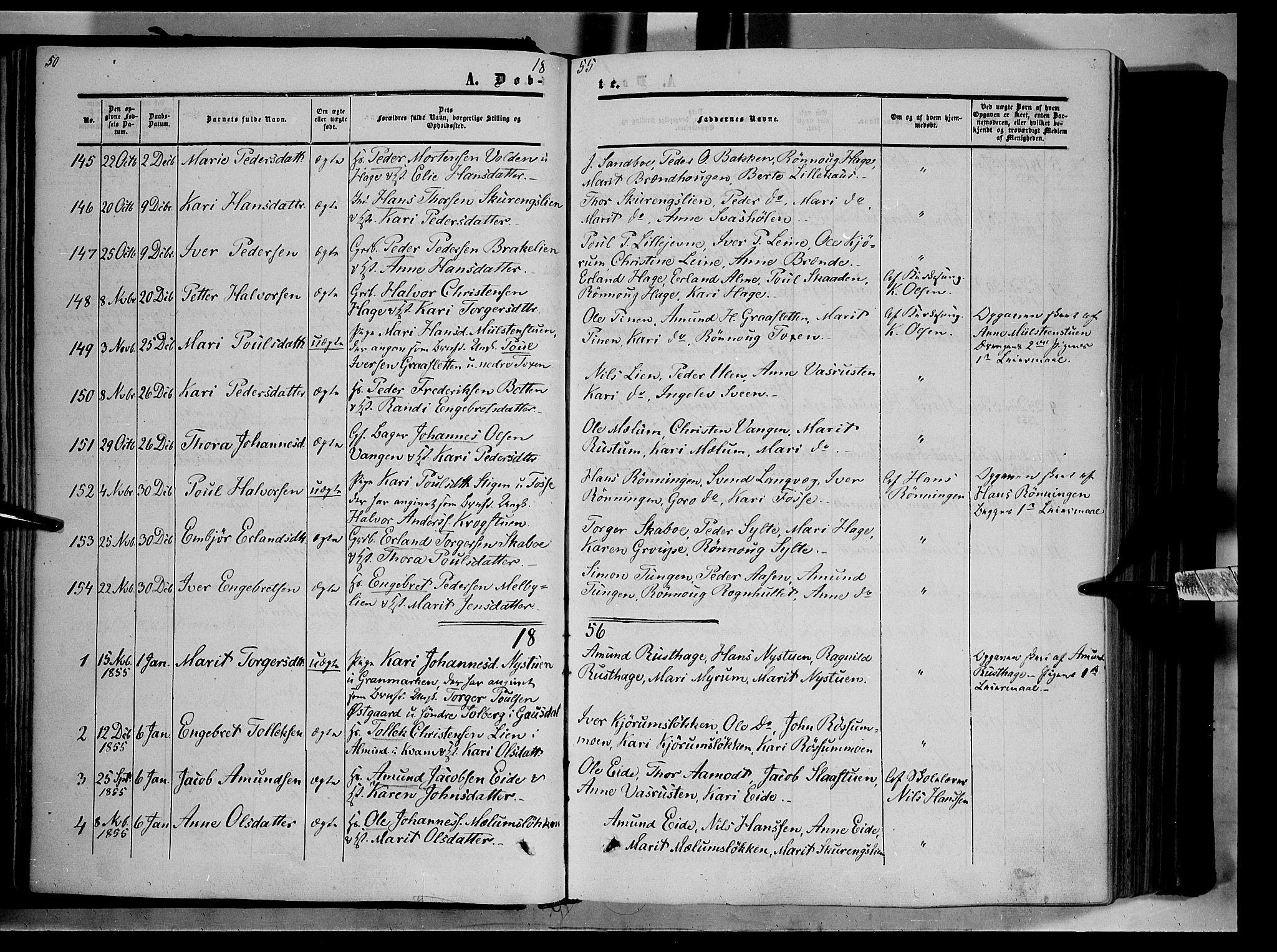 SAH, Nord-Fron prestekontor, Ministerialbok nr. 1, 1851-1864, s. 50