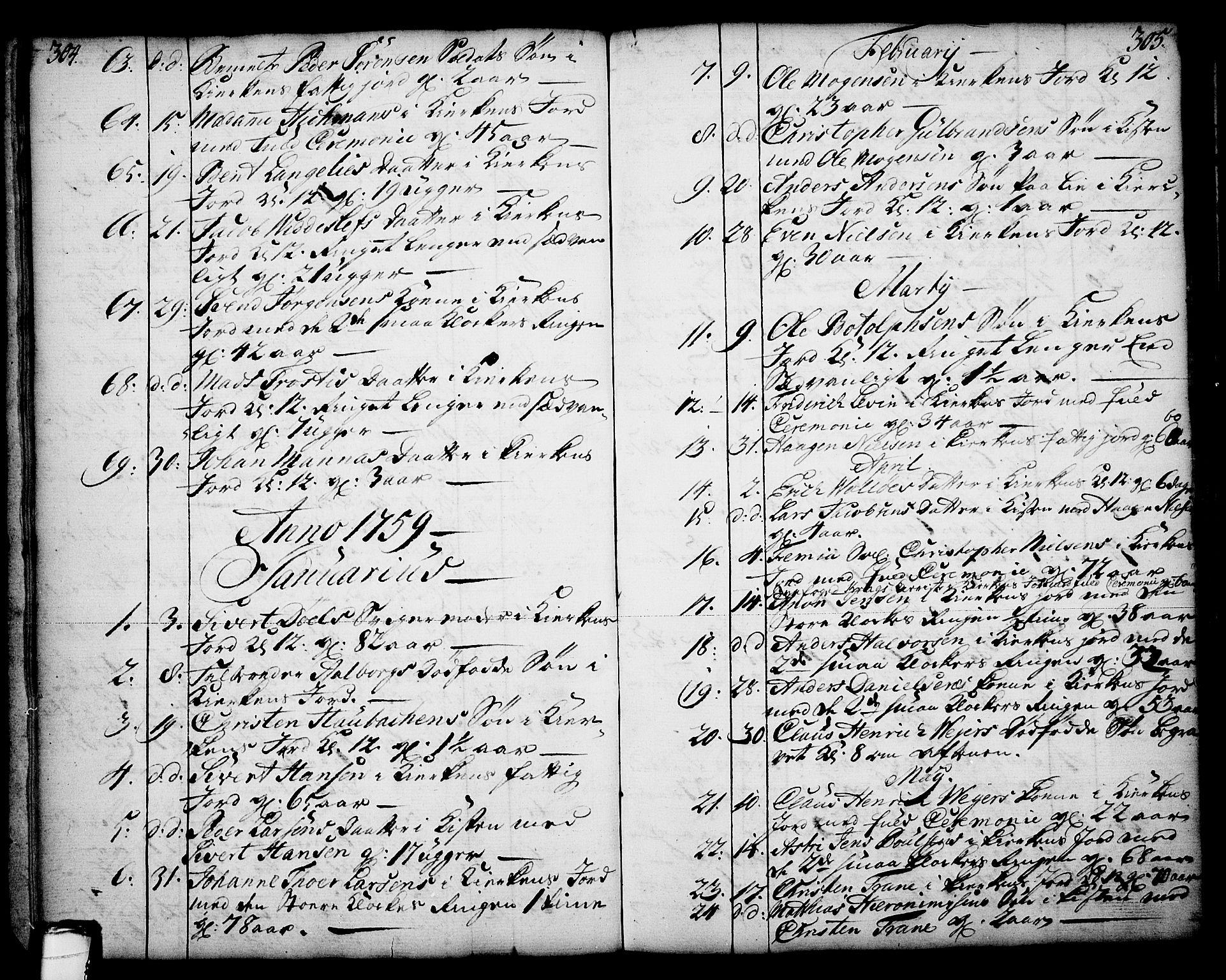 SAKO, Skien kirkebøker, F/Fa/L0003: Ministerialbok nr. 3, 1755-1791, s. 304-305