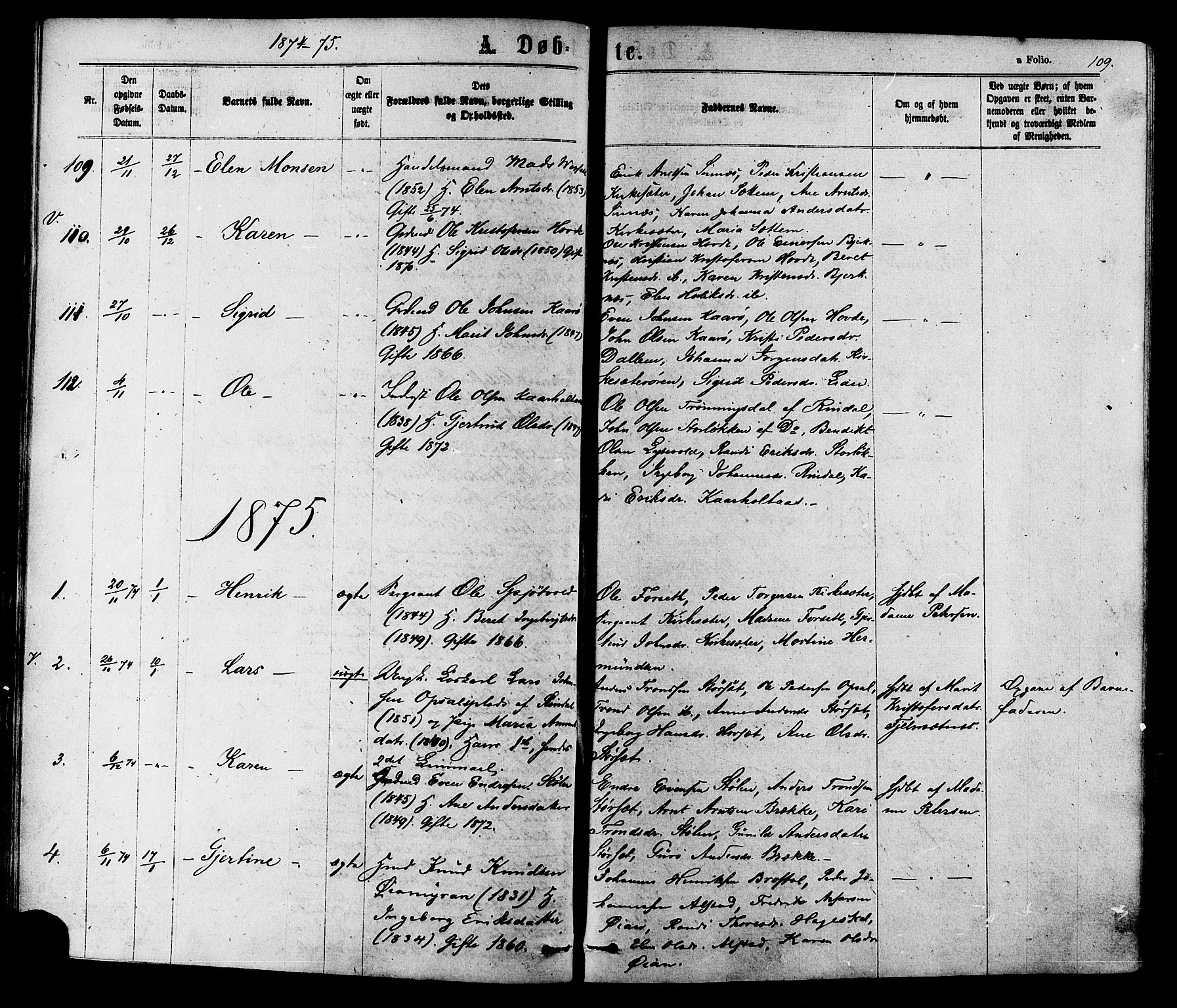 SAT, Ministerialprotokoller, klokkerbøker og fødselsregistre - Sør-Trøndelag, 630/L0495: Ministerialbok nr. 630A08, 1868-1878, s. 109