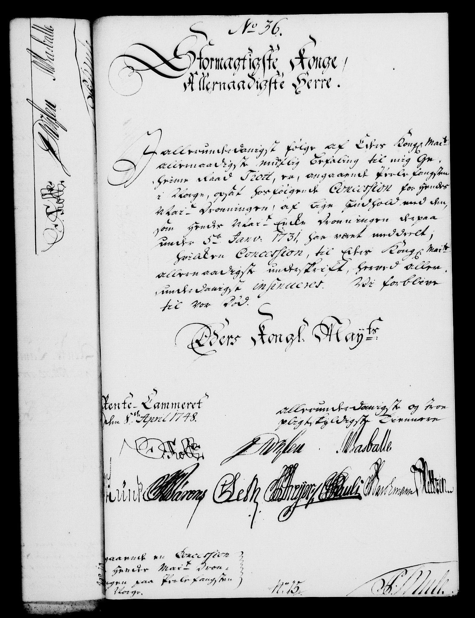 RA, Rentekammeret, Kammerkanselliet, G/Gf/Gfa/L0030: Norsk relasjons- og resolusjonsprotokoll (merket RK 52.30), 1748, s. 271