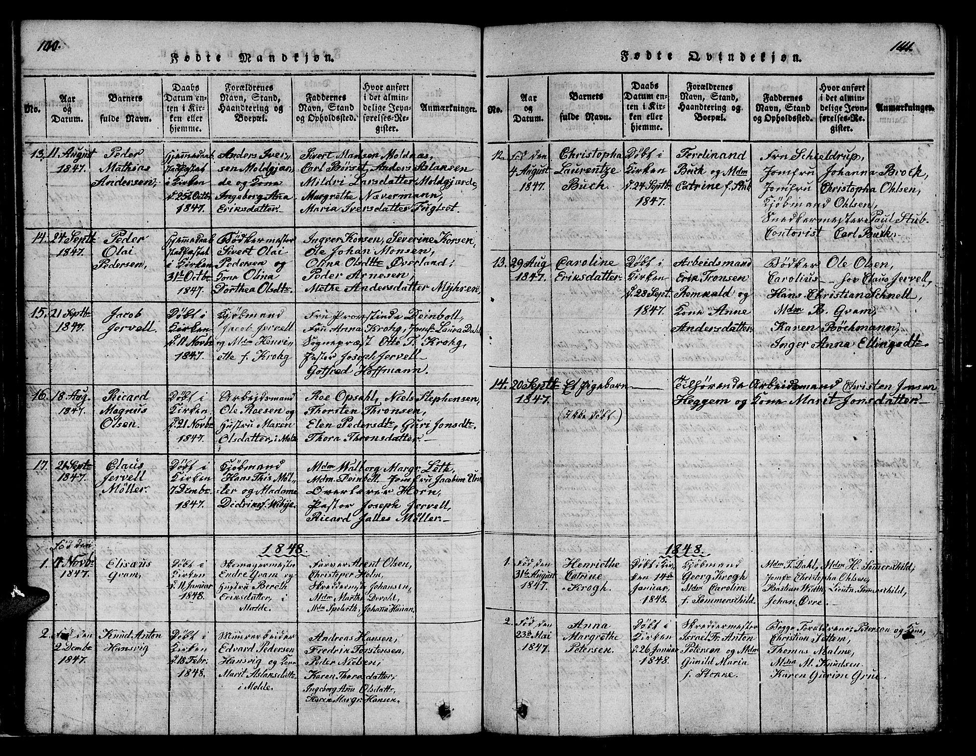SAT, Ministerialprotokoller, klokkerbøker og fødselsregistre - Møre og Romsdal, 558/L0700: Klokkerbok nr. 558C01, 1818-1868, s. 140-141
