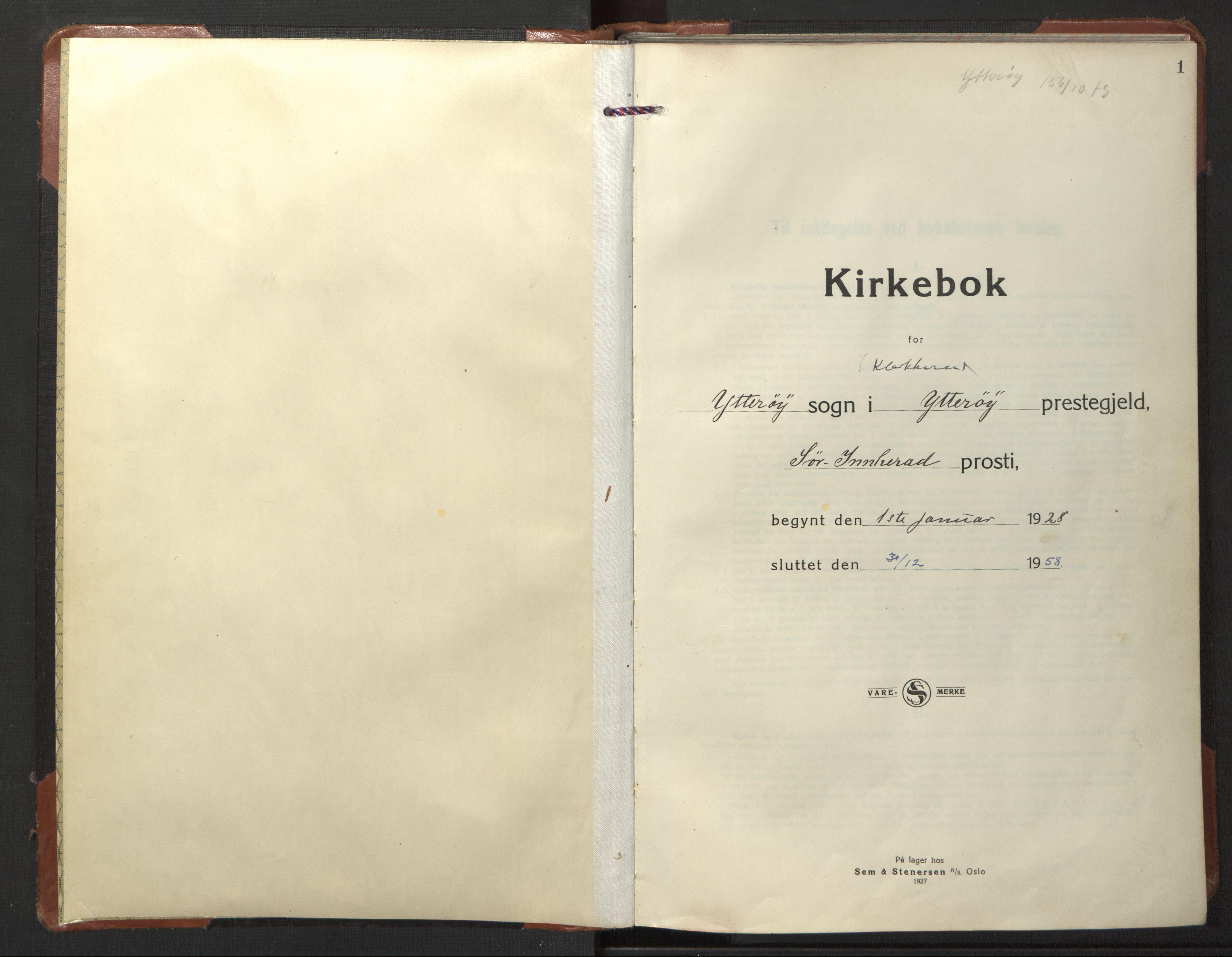 SAT, Ministerialprotokoller, klokkerbøker og fødselsregistre - Nord-Trøndelag, 722/L0227: Klokkerbok nr. 722C03, 1928-1958, s. 1