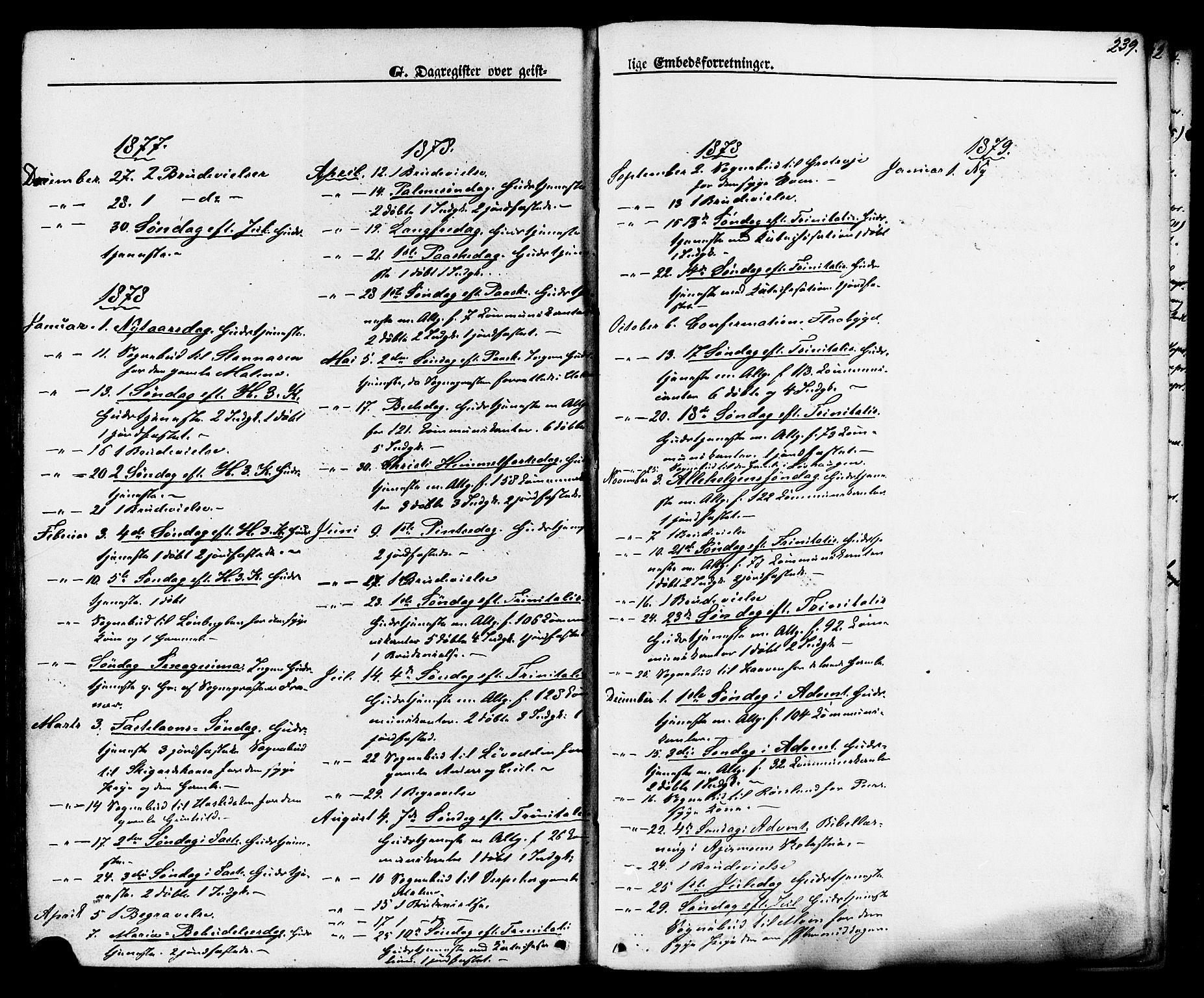 SAKO, Lunde kirkebøker, F/Fa/L0001: Ministerialbok nr. I 1, 1866-1883, s. 239