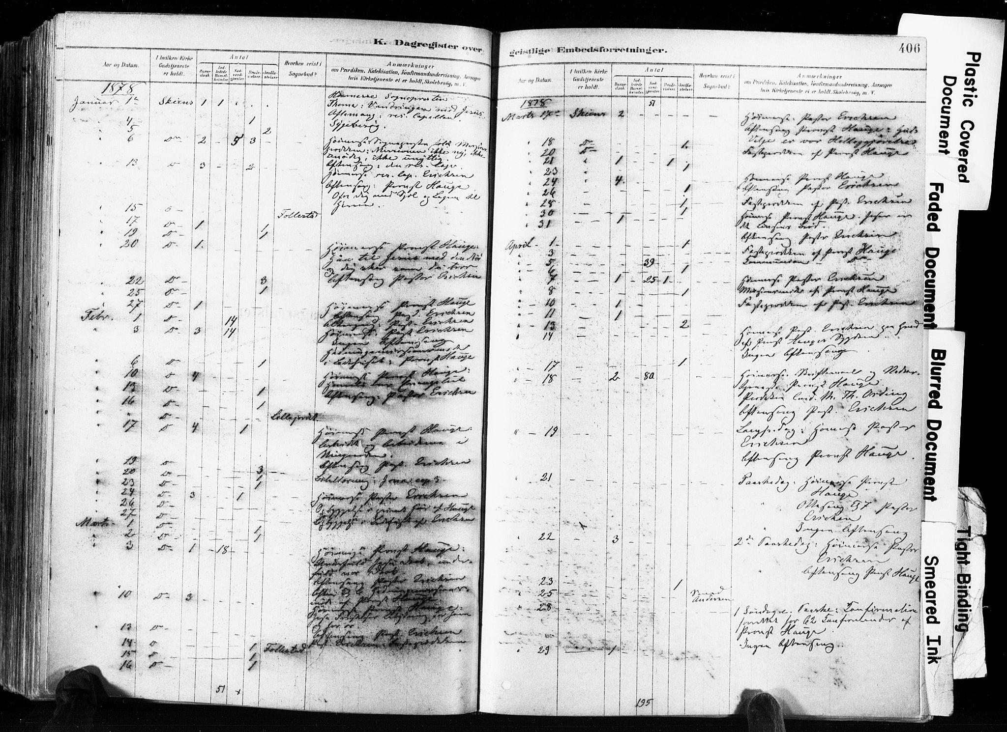SAKO, Skien kirkebøker, F/Fa/L0009: Ministerialbok nr. 9, 1878-1890, s. 406