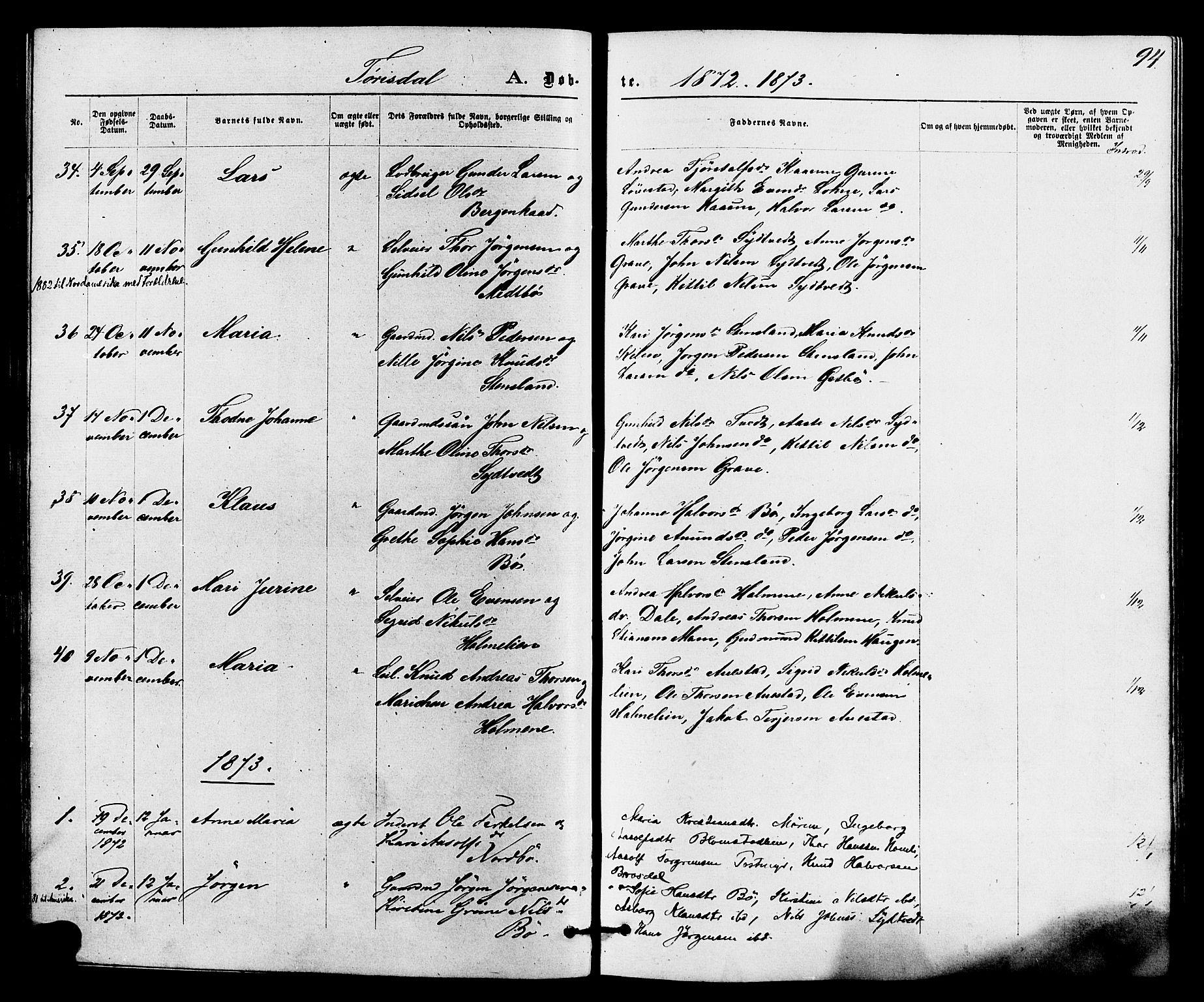 SAKO, Drangedal kirkebøker, F/Fa/L0009: Ministerialbok nr. 9 /2, 1872-1884, s. 94