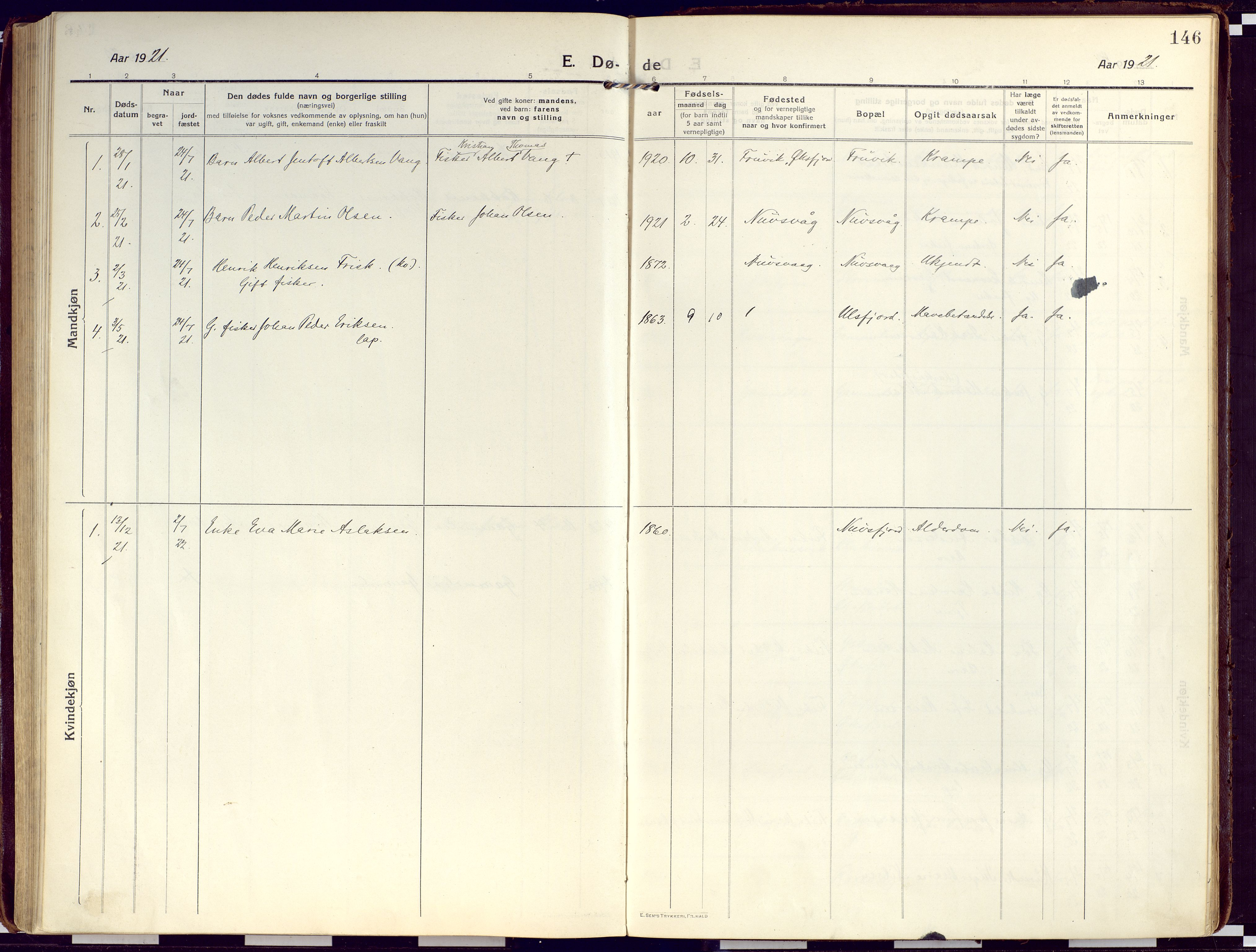 SATØ, Loppa sokneprestkontor, H/Ha/L0012kirke: Ministerialbok nr. 12, 1917-1932, s. 146