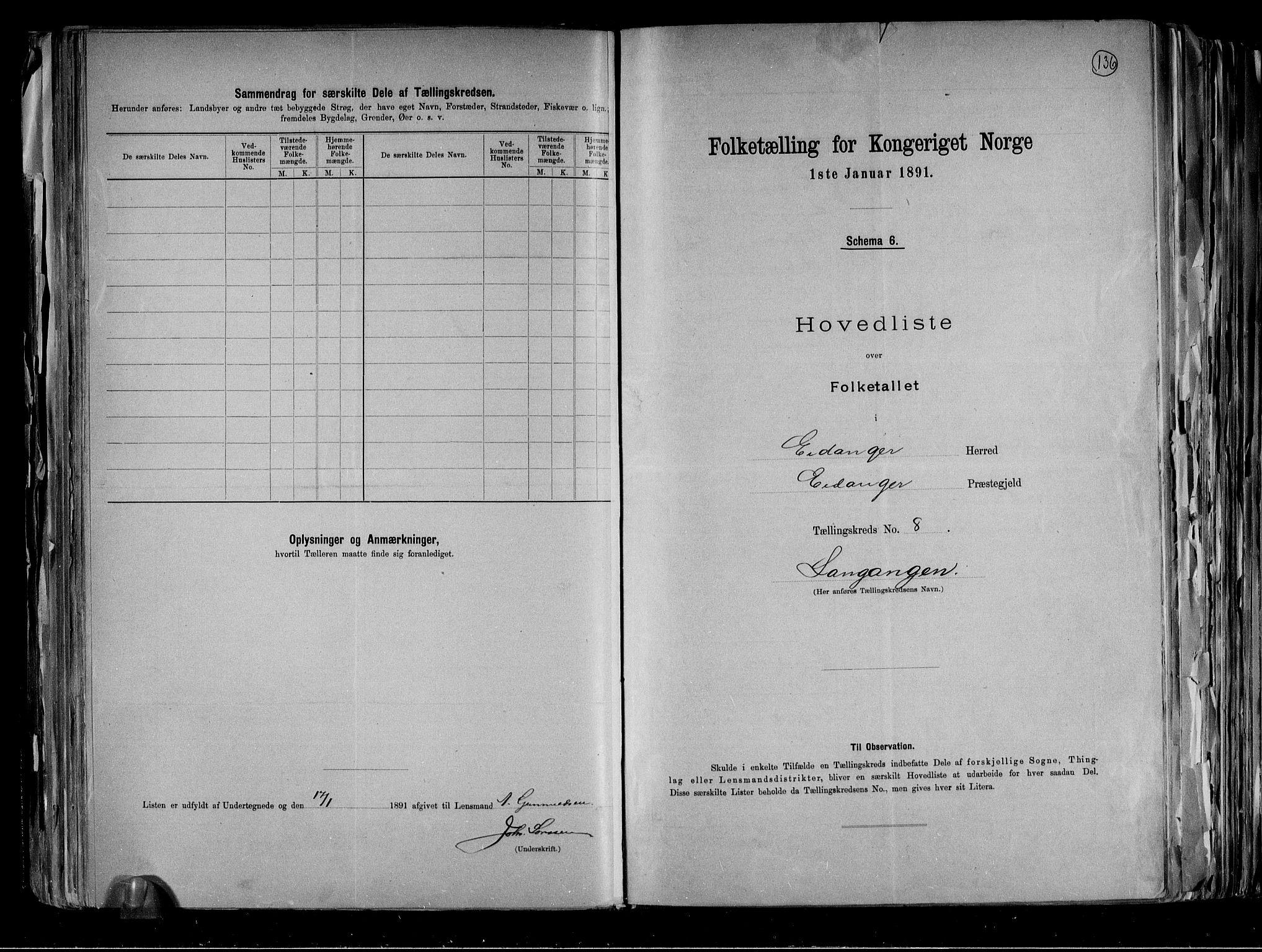 RA, Folketelling 1891 for 0813 Eidanger herred, 1891, s. 22