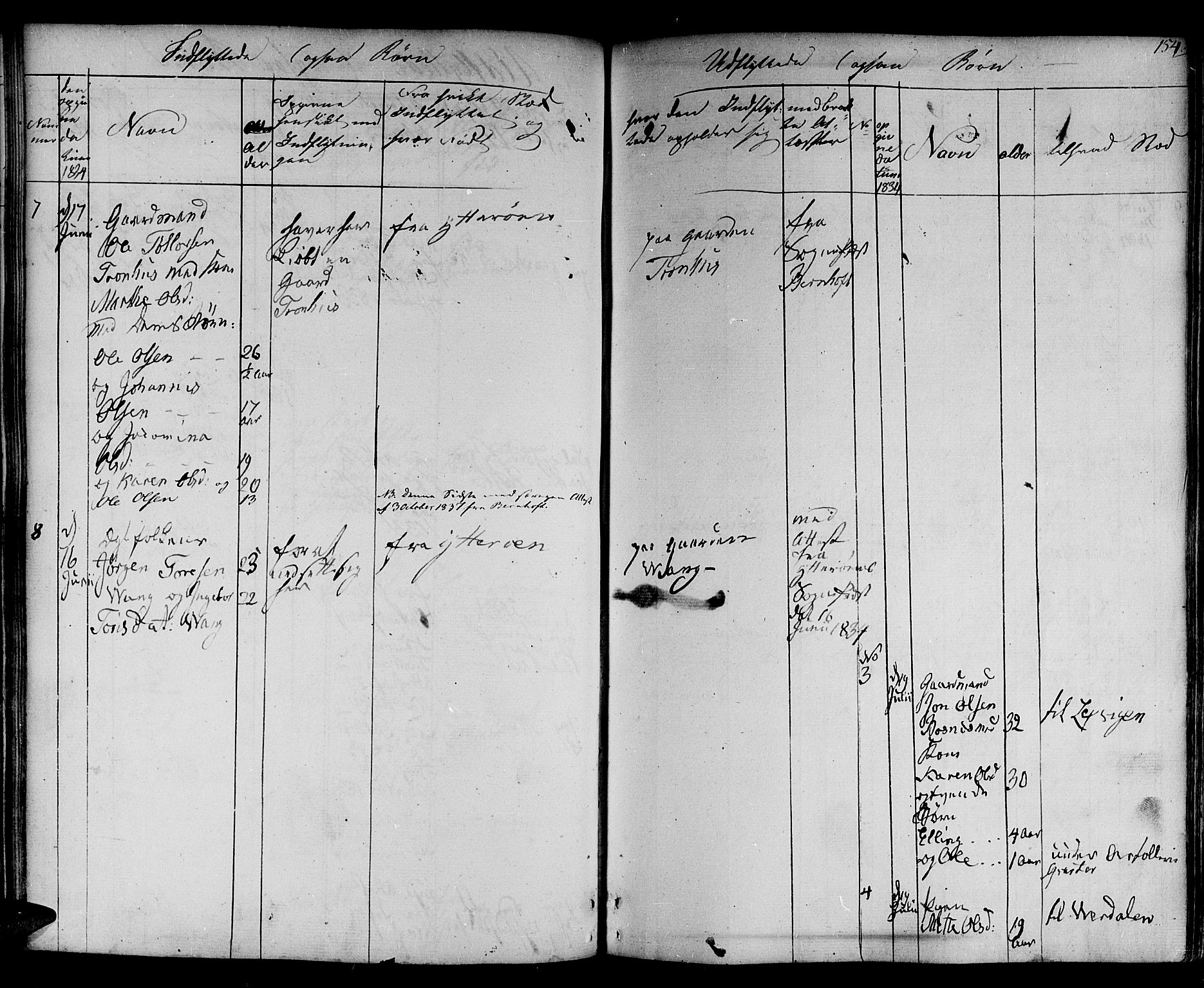 SAT, Ministerialprotokoller, klokkerbøker og fødselsregistre - Nord-Trøndelag, 730/L0277: Ministerialbok nr. 730A06 /1, 1830-1839, s. 154