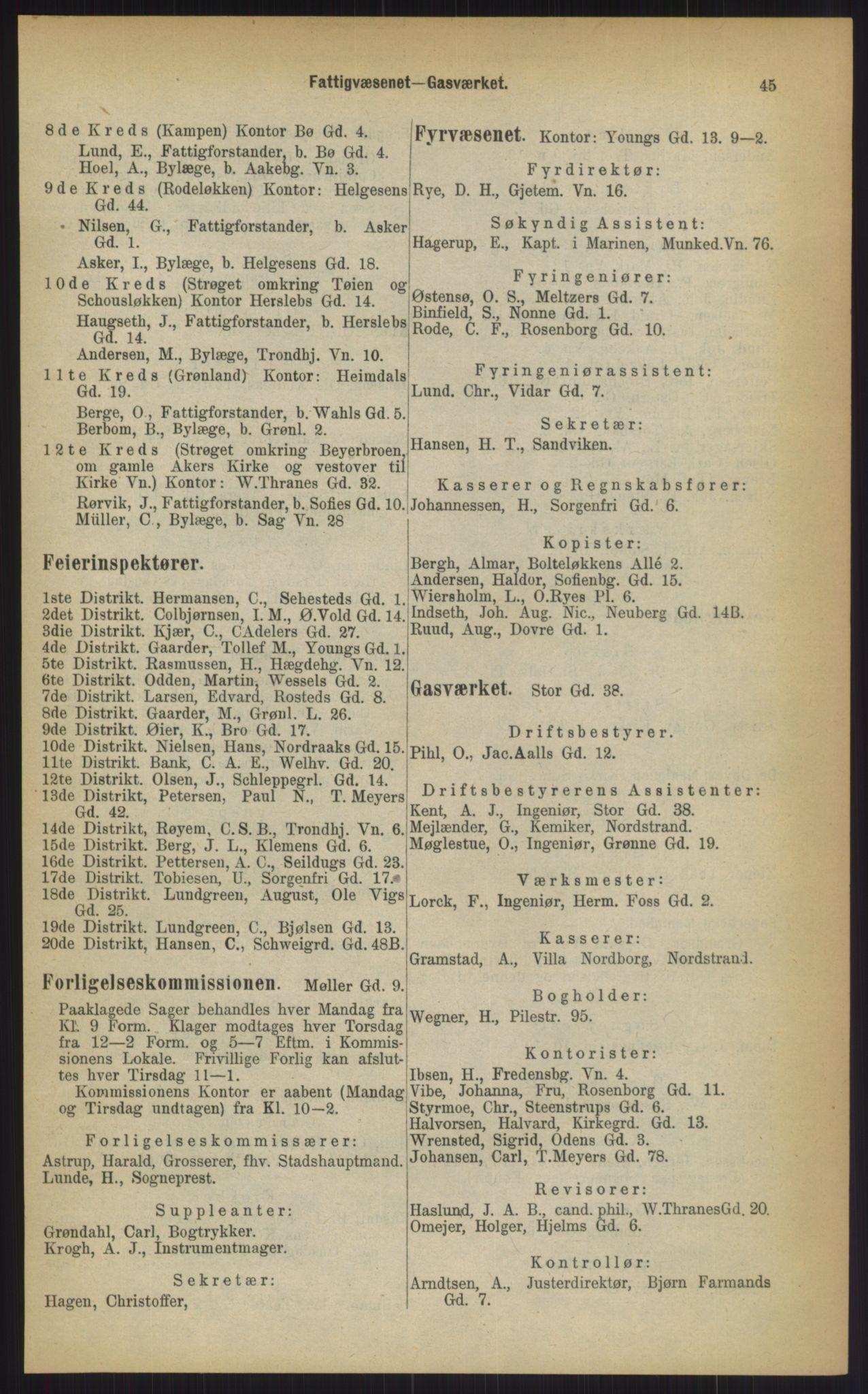 RA, Kristiania adressebok (publikasjon)*, 1903, s. 45