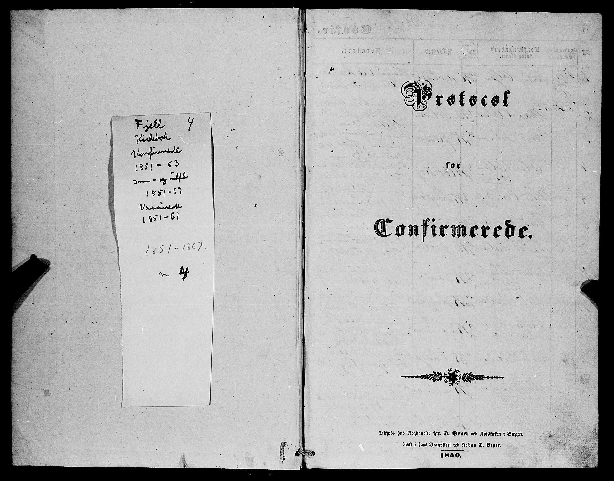 SAB, Fjell sokneprestembete, H/Haa: Ministerialbok nr. A 4, 1851-1870