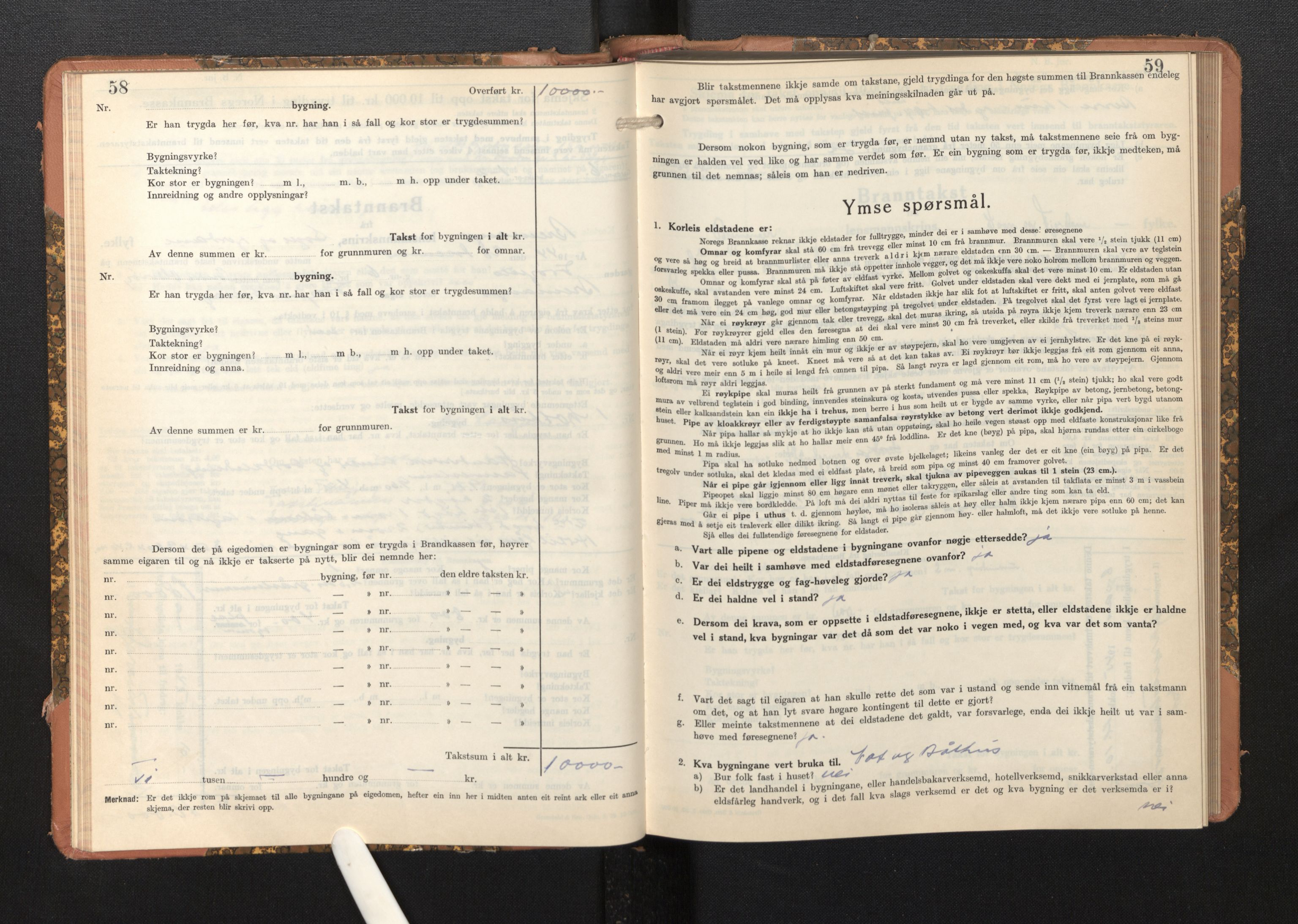 SAB, Lensmannen i Bremanger, 0012/L0009: Branntakstprotokoll, skjematakst, 1943-1950, s. 58-59