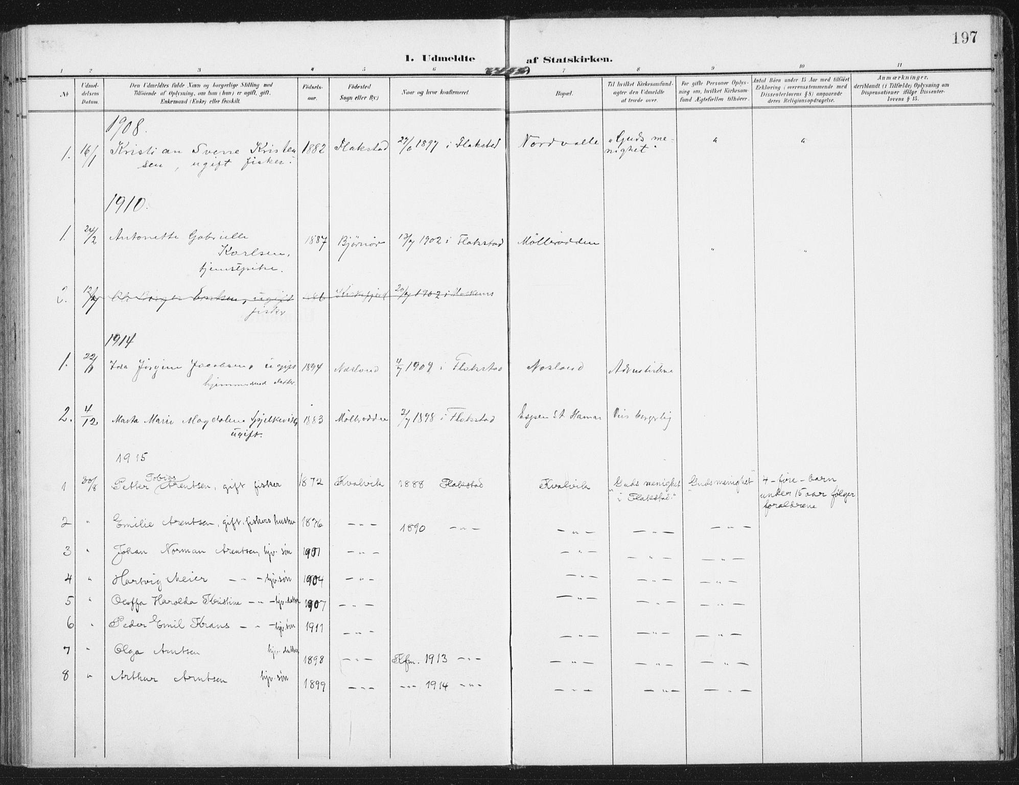 SAT, Ministerialprotokoller, klokkerbøker og fødselsregistre - Nordland, 885/L1206: Ministerialbok nr. 885A07, 1905-1915, s. 197