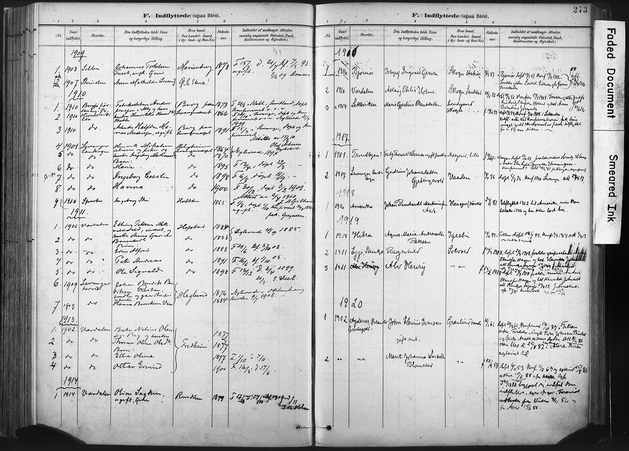 SAT, Ministerialprotokoller, klokkerbøker og fødselsregistre - Nord-Trøndelag, 717/L0162: Ministerialbok nr. 717A12, 1898-1923, s. 273
