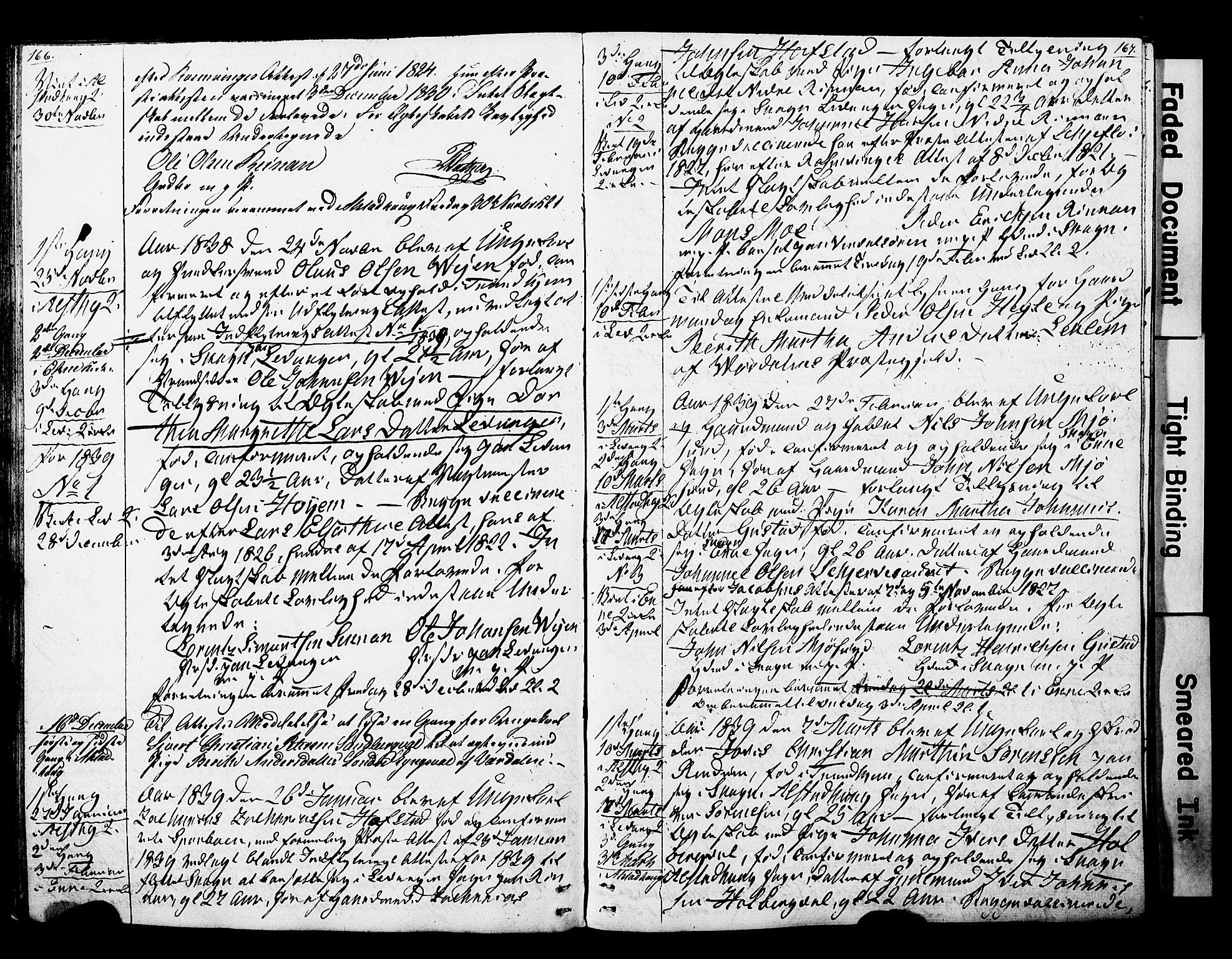 SAT, Ministerialprotokoller, klokkerbøker og fødselsregistre - Nord-Trøndelag, 717/L0160: Forlovererklæringer nr. 717A10, 1828-1850, s. 166-167