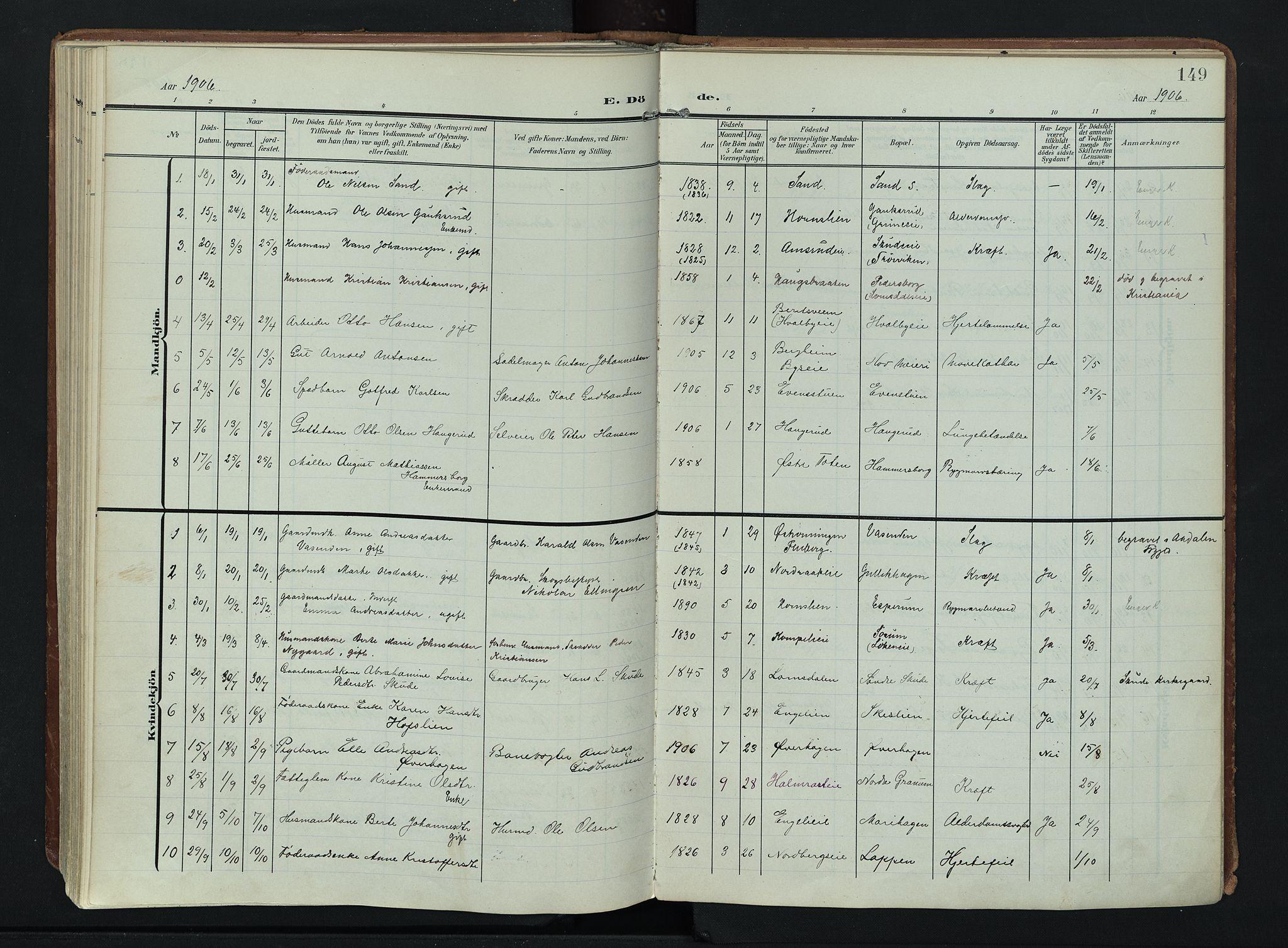 SAH, Søndre Land prestekontor, K/L0007: Ministerialbok nr. 7, 1905-1914, s. 149