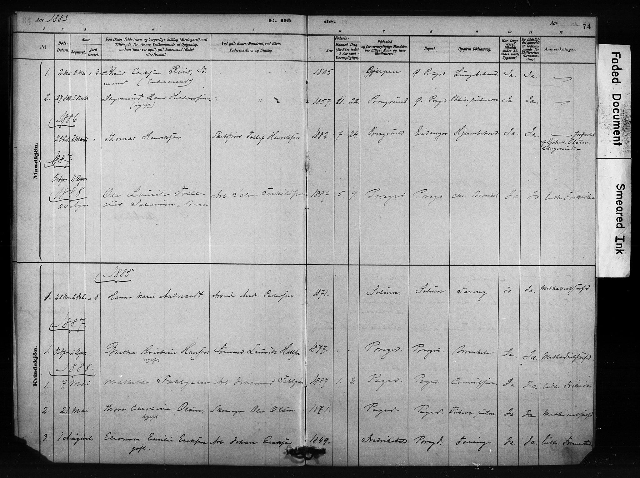 SAKO, Porsgrunn kirkebøker , F/Fa/L0009: Ministerialbok nr. 9, 1878-1923, s. 74